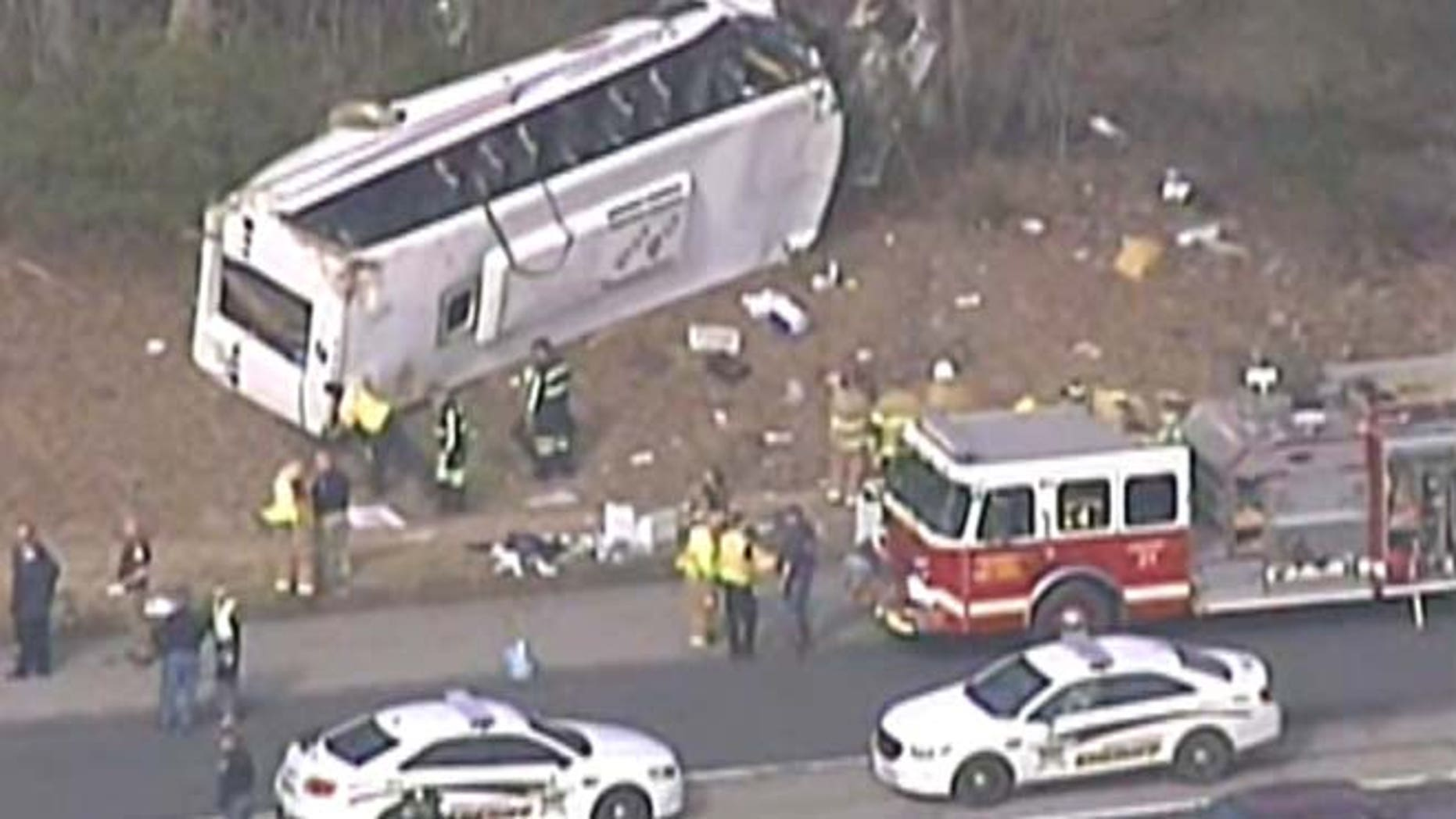 March 12, 2015: Indiana State Police say at least 20 people are injured, including children, after a tour bus overturned on Interstate 65 in southern Indiana, RTV6 reports.