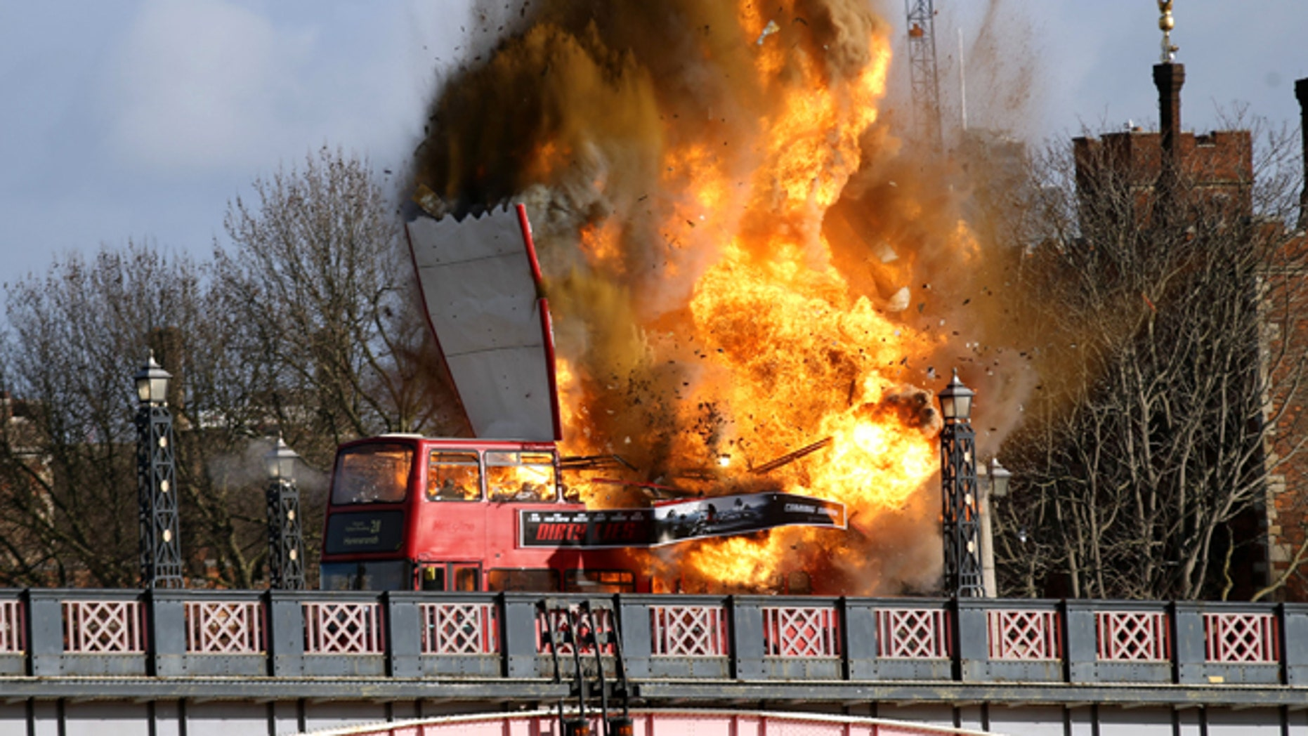 """Feb 7, 2016. A bus explodes on Lambeth Bridge, during filming for Jackie Chan's new film """"The Foreigner,"""" in London."""