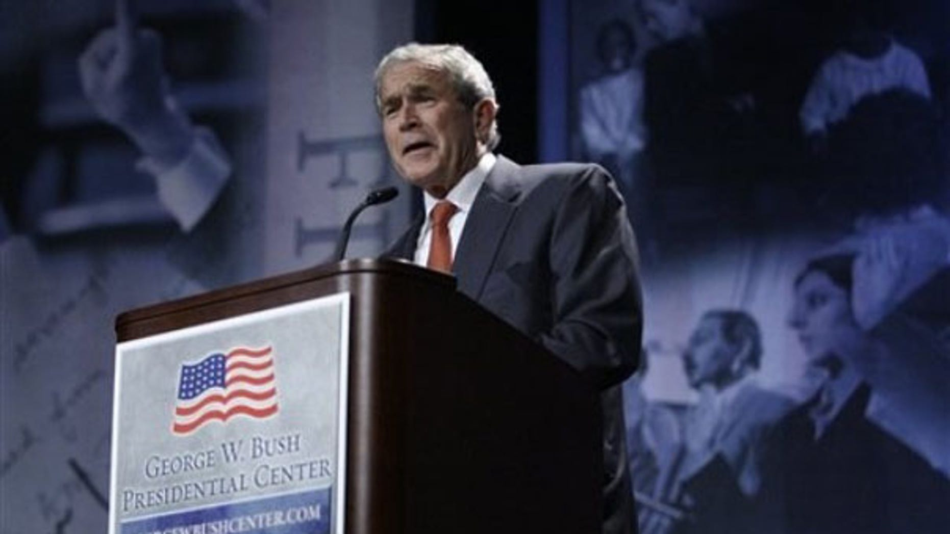 Former President George W. Bush delivers a speech on the SMU campus about the Bush Presidential Center Nov. 12, 2009, in Dallas. (AP Photo)