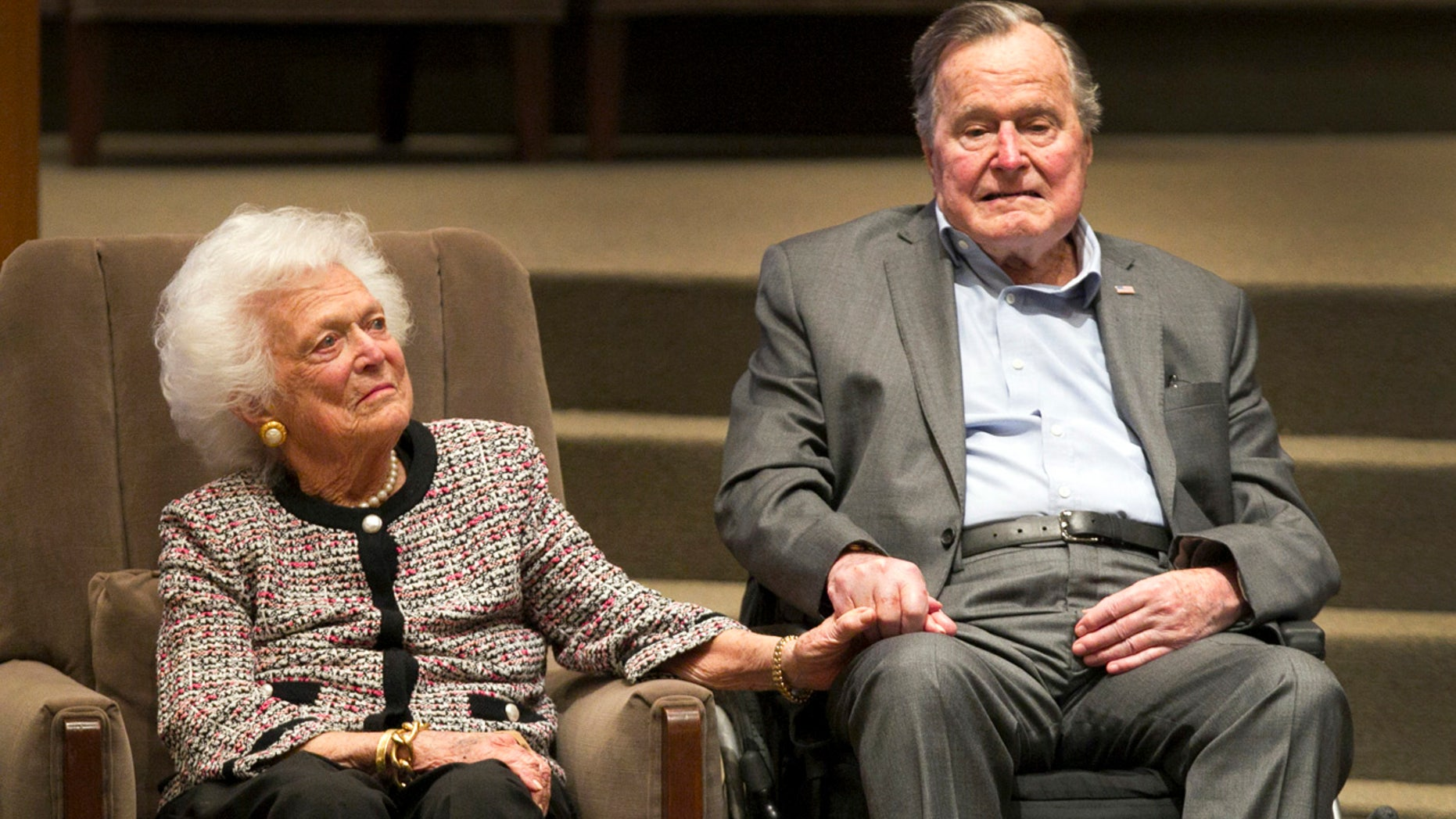 In this March 8, 2017, file photo, former President George H.W. Bush and former first lady Barbara Bush attend an awards ceremony hosted by Congregation Beth Israel after the Mensch International Foundation presented its annual Mensch Award to the former president in Houston.
