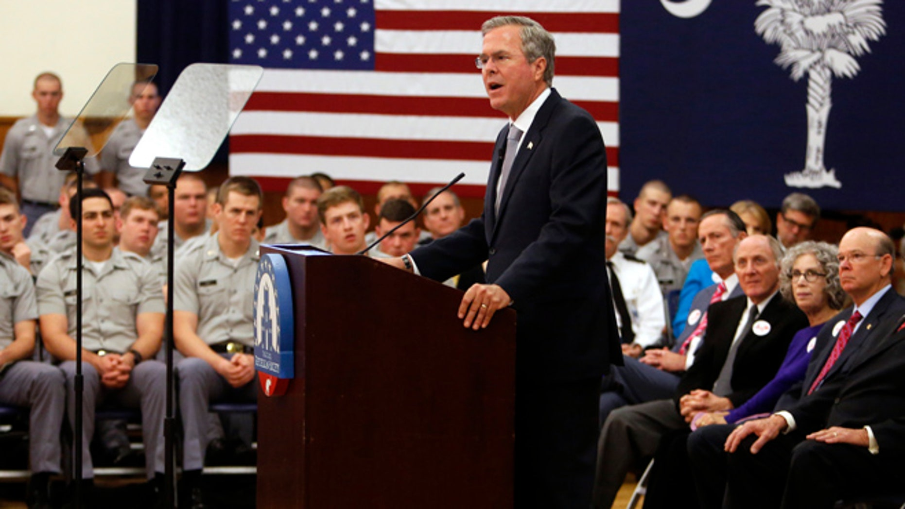 Nov. 18, 2015: Republican presidential candidate, former Florida Gov. Jeb Bush, gives a speech on foreign policy and national defense on the campus of The Citadel in Charleston, S.C. (AP)