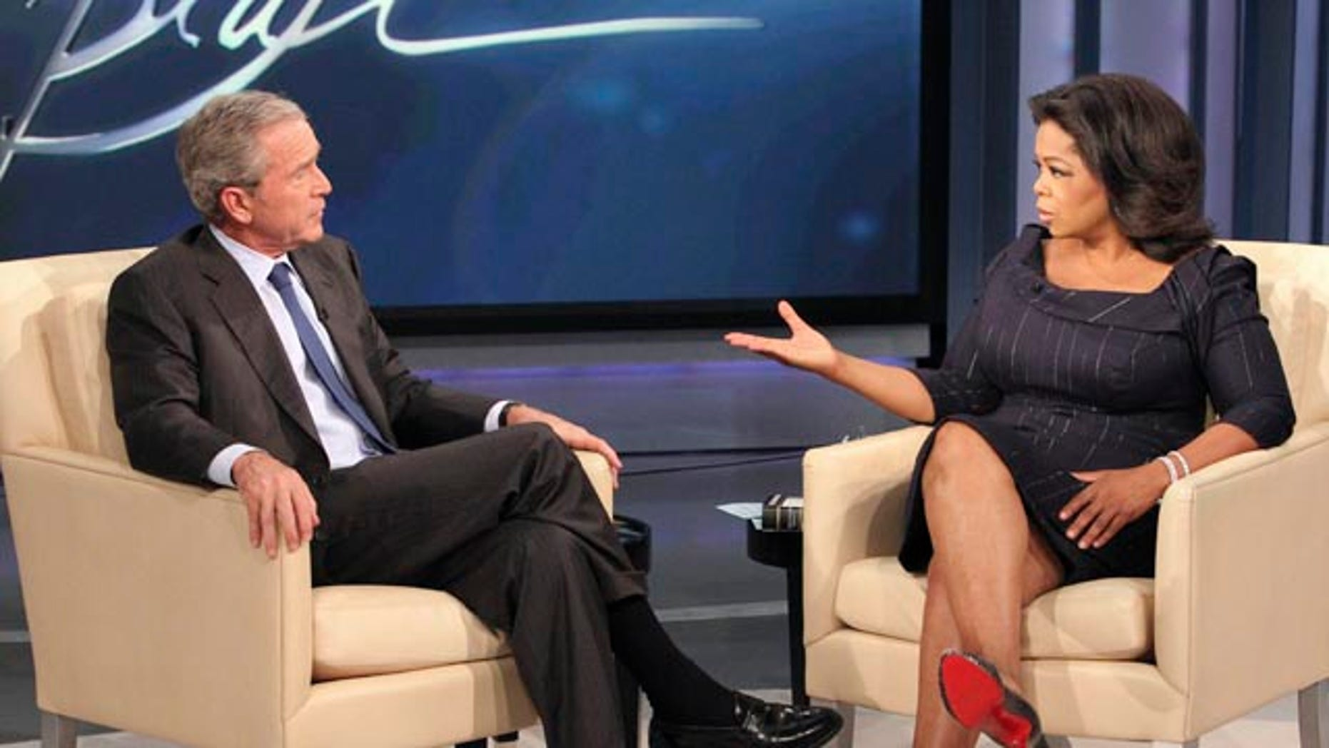 Oct. 28: Bush during taping of 'The Oprah Winfrey Show' at Harpo Studios in Chicago. The show aired nationally on Nov. 9.
