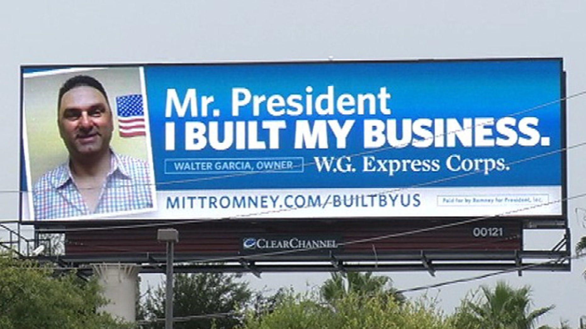 Shown here is a billboard put up by the Romney campaign in the Orlando area ahead of President Obama's visit on Aug. 2, 2012.