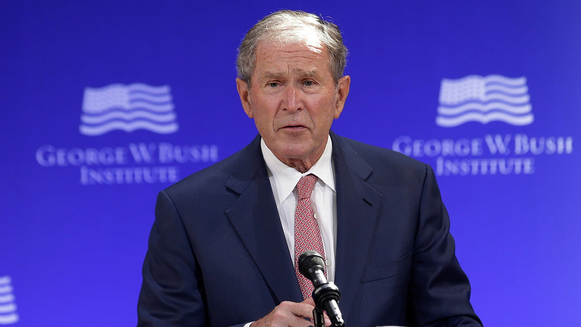 FILE- In this Thursday, Oct. 19, 2017 file photo, former U.S. President George W. Bush speaks at a forum sponsored by the George W. Bush Institute in New York.