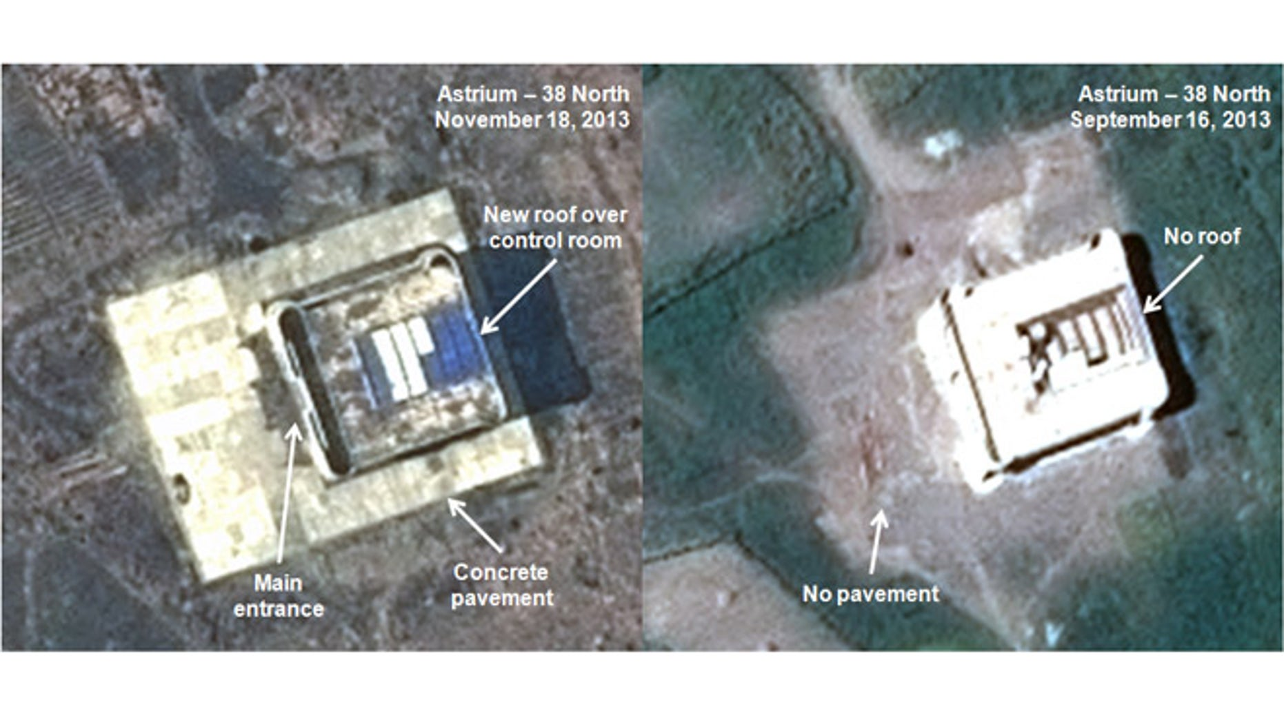 This combination of satellite images taken by Astrium on Nov. 18, 2013, left, and Sept. 16, 2013, and annotated and distributed by 38 North shows what appears to be a rocket assembly building and launch control center at the Tonghae site, located on North Korea's northeast coast.