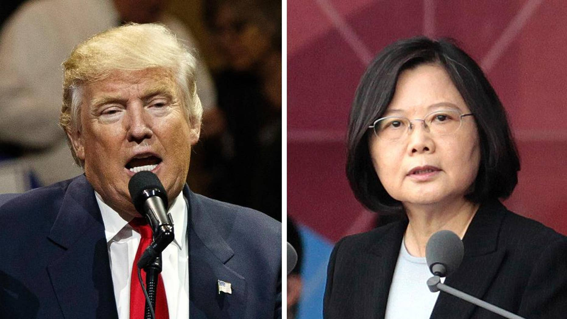 """FILE - This combination of two photos shows U.S. President-elect Donald Trump, left, speaking during a """"USA Thank You"""" tour event in Cincinatti Thursday, Dec. 1, 2016, and Taiwan's President Tsai Ing-wen, delivering a speech during National Day celebrations in Taipei, Taiwan, Monday, Oct. 10, 2016. Trump spoke Friday, Dec. 2, with Tsai, a move that will be sure to anger China. (AP Photo/Evan Vucci, Chinag Ying-ying, File)"""