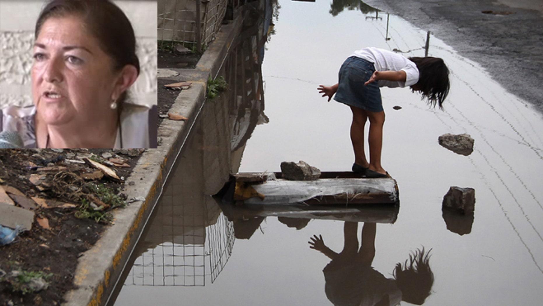 Tecamachalco, Puebla is experiencing an increase in homelessness. Inset: Councilwoman Olga Gutiérrez Machorro. (Main photo by John Moore/Getty Images; Gutiérrez Machorro: Via YouTube)