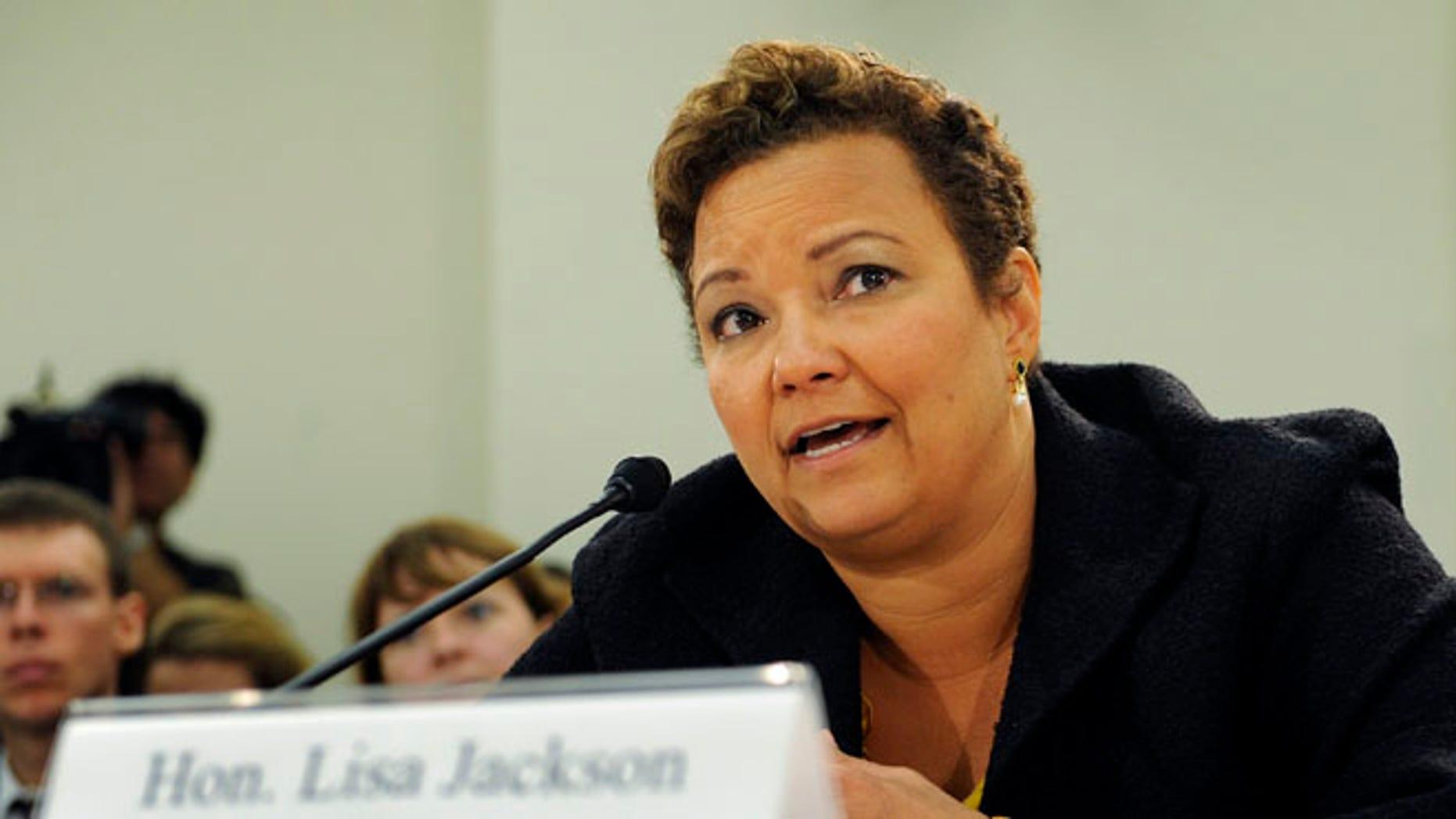 FILE: September 22, 2011: Environmental Protection Agency Administrator Lisa Jackson testifies at a Capitol Hill hearing in Washington.
