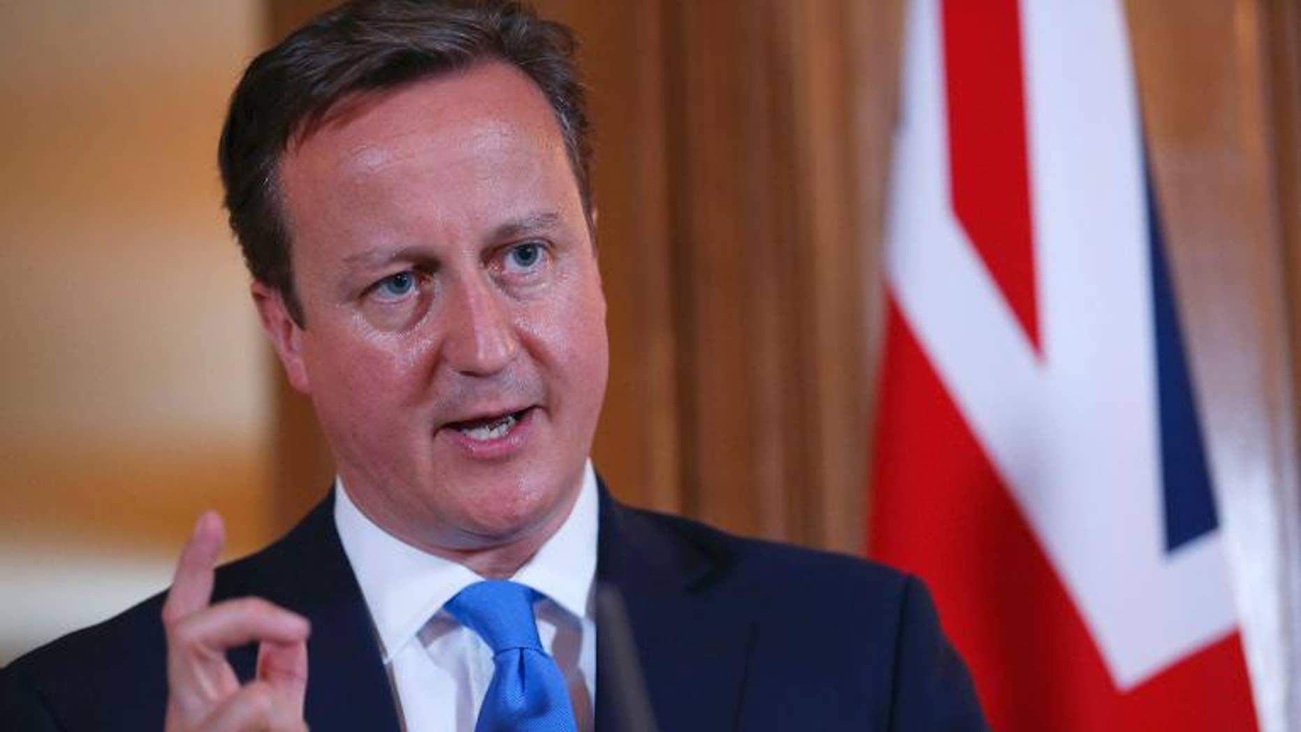 Prime Minister David Cameron speaks during a press conference in London on July 17, 2013