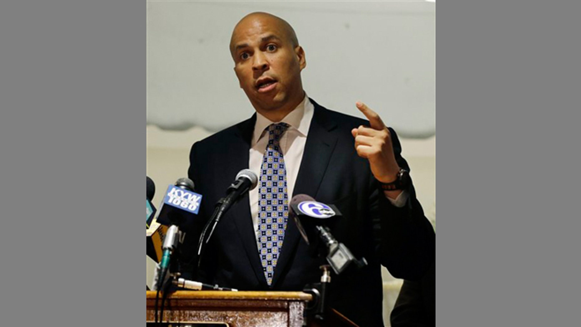 FILE -- June 19, 2013: Senate candidate, Newark Mayor Cory Booker addresses a gathering of supporters during an event in Deptford Township, N.J.