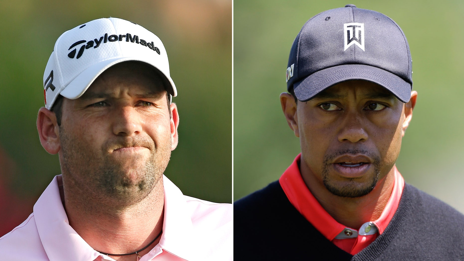 FILE - At left, in a May 5, 2013 file photo, Sergio Garcia grimaces during The Players Championshop golf tournament in Ponte Vedra Beach, Fla. At right, in a March 25, 2013 file photo, Tiger Woods walks to the 16th green during the final round of the Arnold Palmer Invitational golf tournament in Orlando, Fla. Woods and Garcia don't like each other, and are making no attempt to disguise their feelings.  (AP Photo/File)