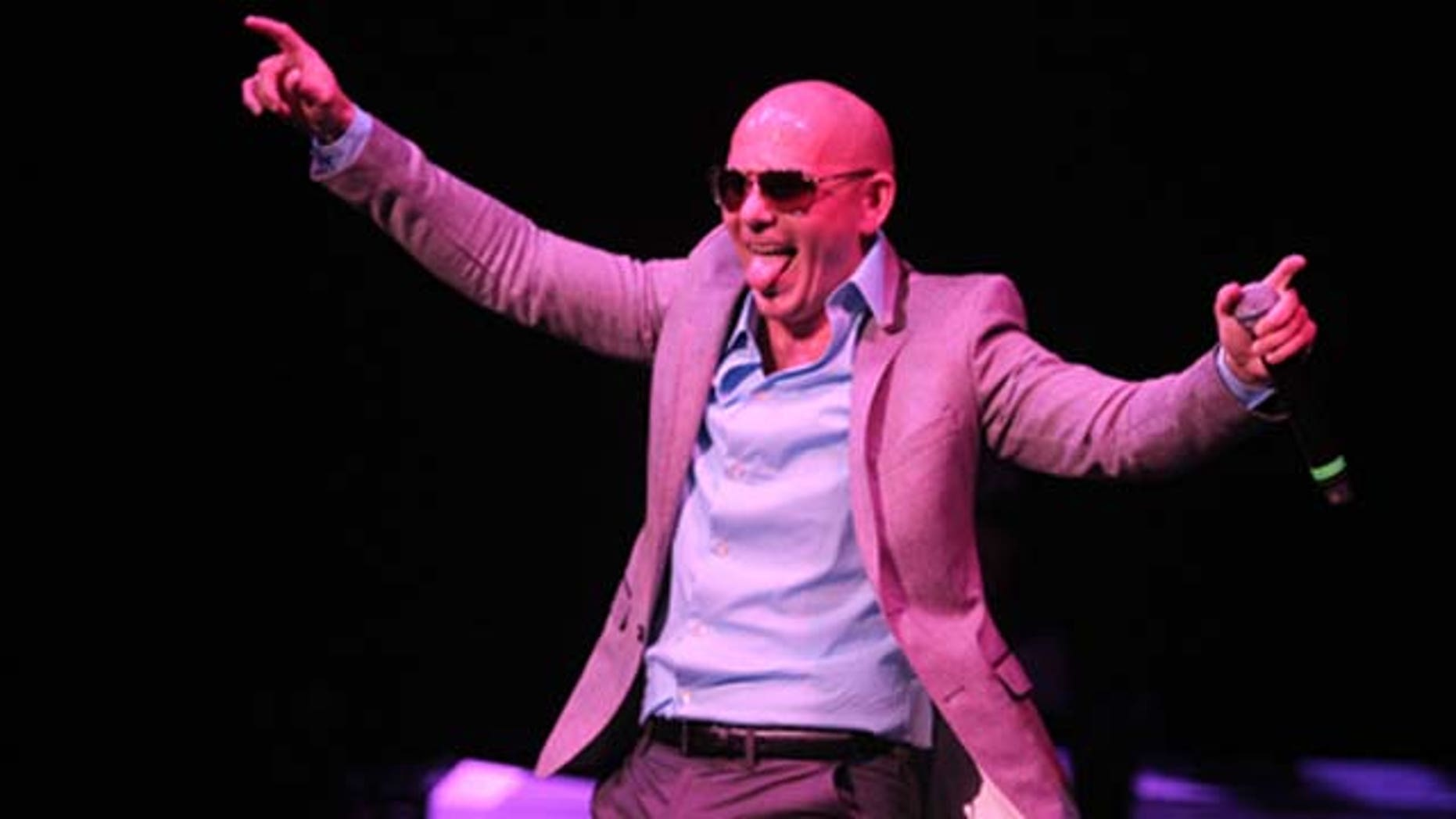 Sept. 11, 2010: Rapper Pitbull performs onstage during Motorola at Pérez Hilton's 'One Night in Los Angeles' at the Wiltern Theatre in Los Angeles, Calif.