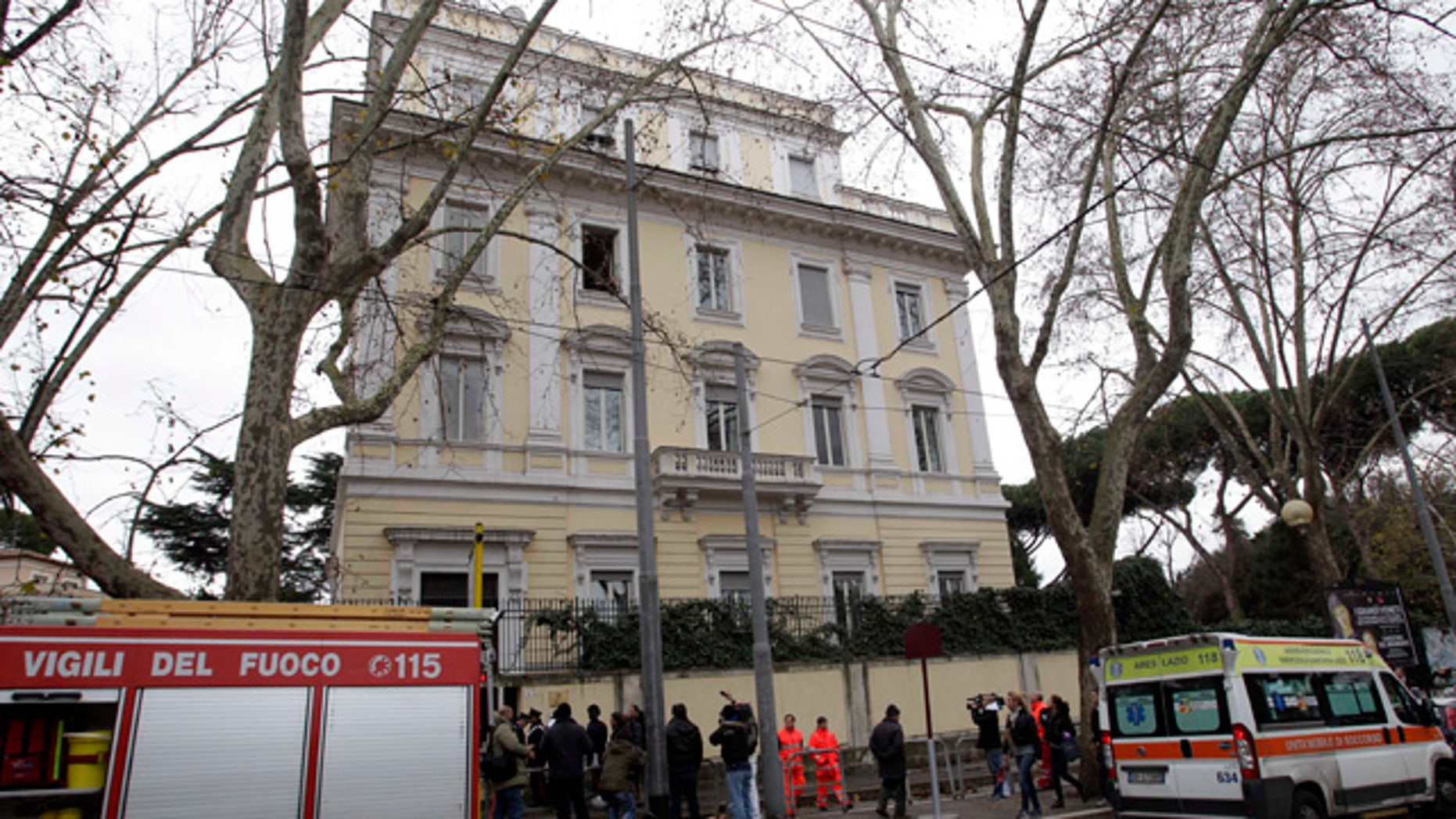 Dec. 27: Firefighters stand outside the Greek Embassy in Rome. A package bomb was found at the Greek Embassy in Rome on Monday, four days after similar mail bombs exploded at two other embassies injuring two people. The device was defused and no one was injured. (AP)