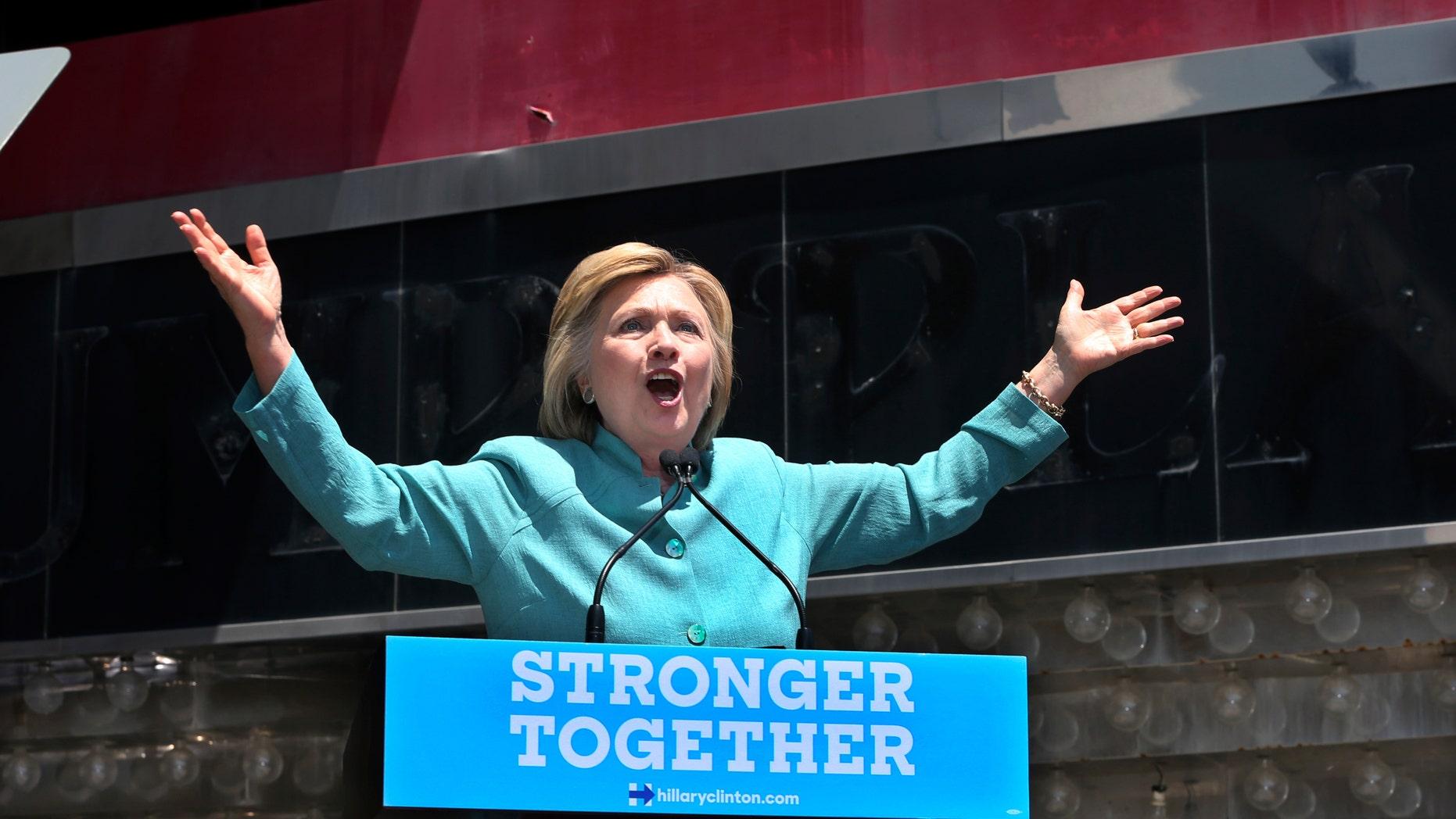 Democratic presidential candidate Hillary Clinton speaks on the Boardwalk in Atlantic City, N.J.,Wednesday, July 6, 2016.