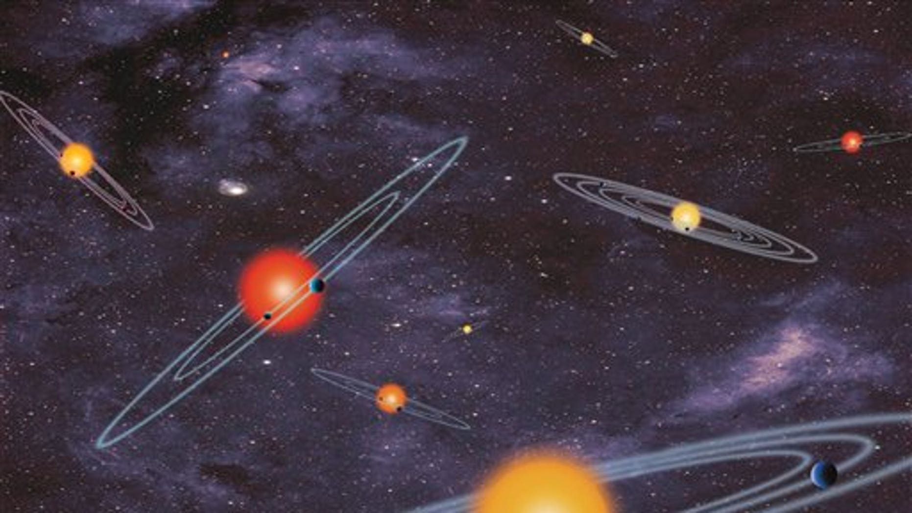 This handout artist conception provided by NASA depicts multiple-transiting planet systems, which are stars with more than one planet. The planets eclipse or transit their host star from the vantage point of the observer. This angle is called edge-on. Our galaxy is looking far more crowded as NASA Wednesday confirmed a bonanza of 715 newly discovered planets circling stars other than our sun. Four of those new planets are in the habitable zones where it is not too hot or not cold. NASAs Kepler planet-hunting telescope nearly doubled the number of planets scientists have discovered in the galaxy, pushing the figure to about 1,700. Twenty years ago, astronomers had not found any planets outside our solar system. (AP Photo/NASA)