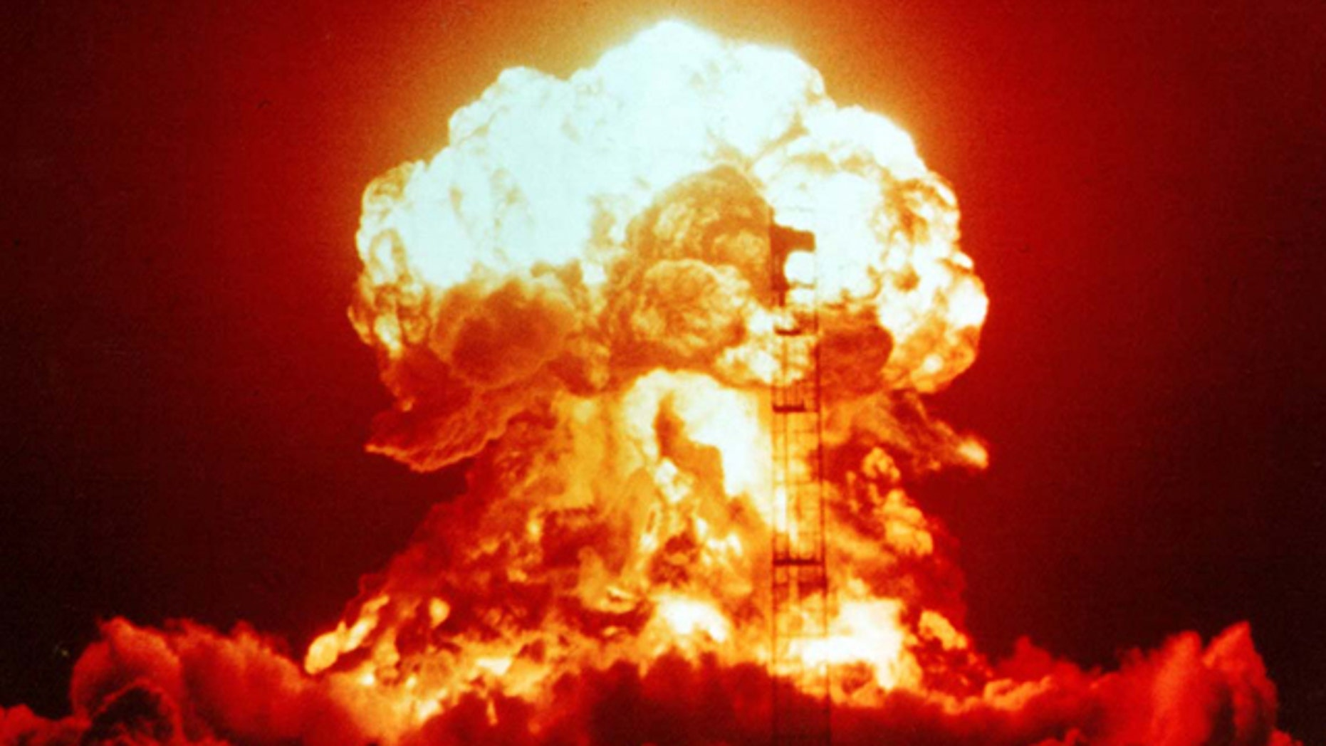 A 23-kiloton nuclear bomb detonated on 18 April, 1953, at a Nevada test site released this mushroom cloud.