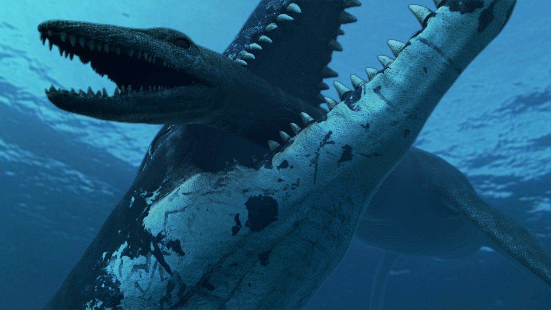 A pliosaur crushes down on a smaller plesiosaur, thanks to its 33,0000-lb bite.