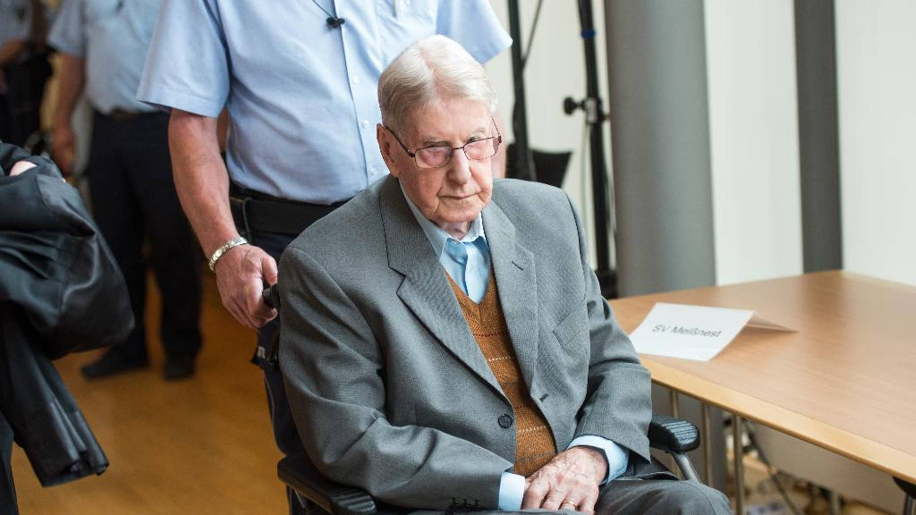 June 11, 2016: A former SS guard at the Auschwitz death camp, Reinhold Hanning, 94, arrives at a courtroom in Detmold, Germany.