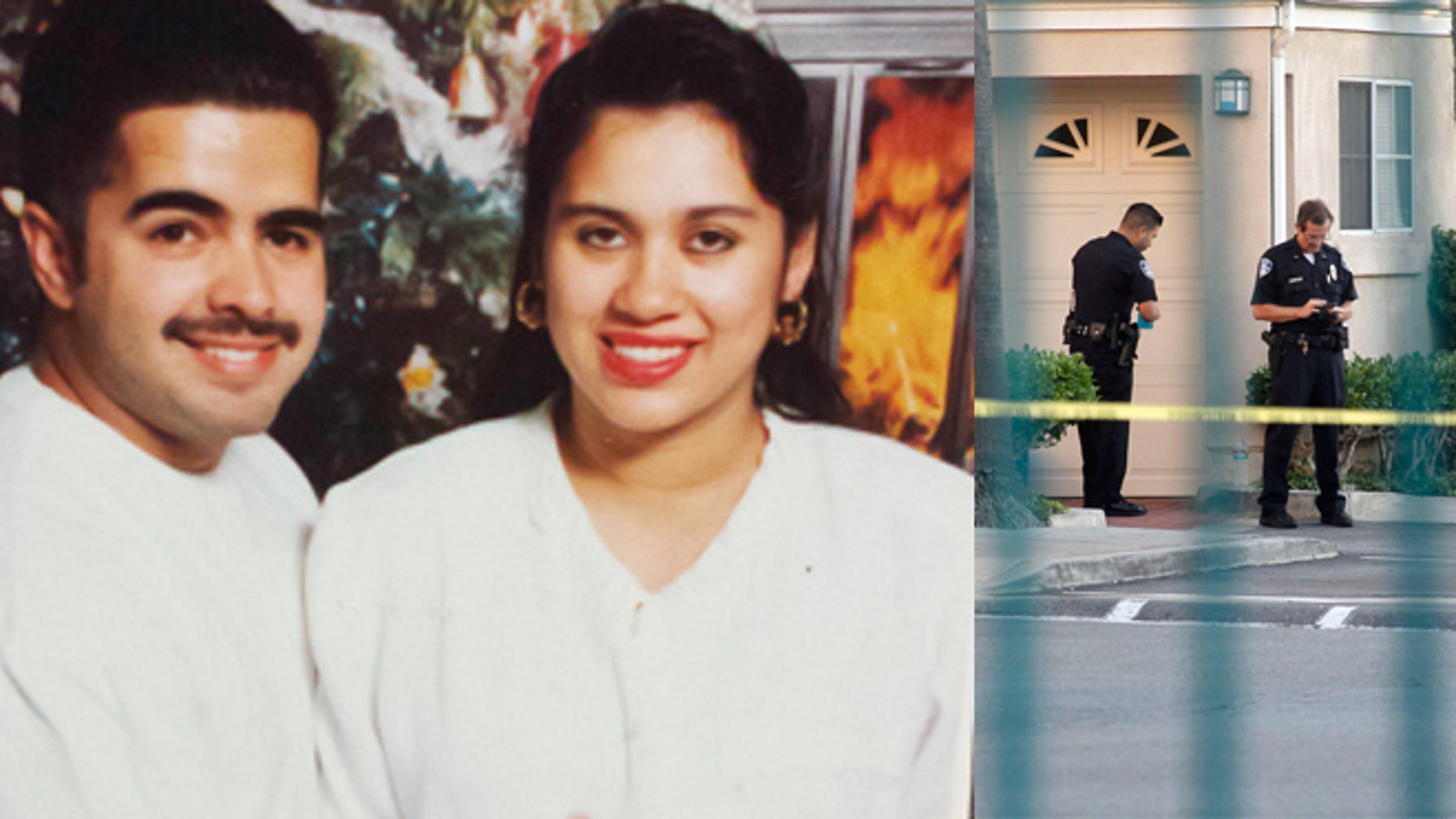 Daniel Crespo and his wife Levette Crespo (left) and crime scene on Tuesday at Crespo family residence (right).