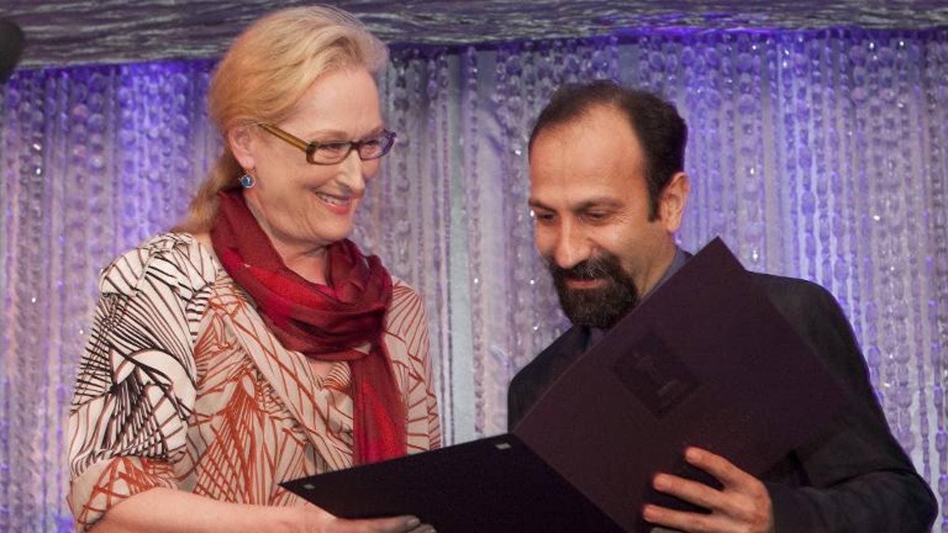 Actress Meryl Streep and Iranian director Ashgar Farhadi on February 24, 2012 in Beverly Hills, California