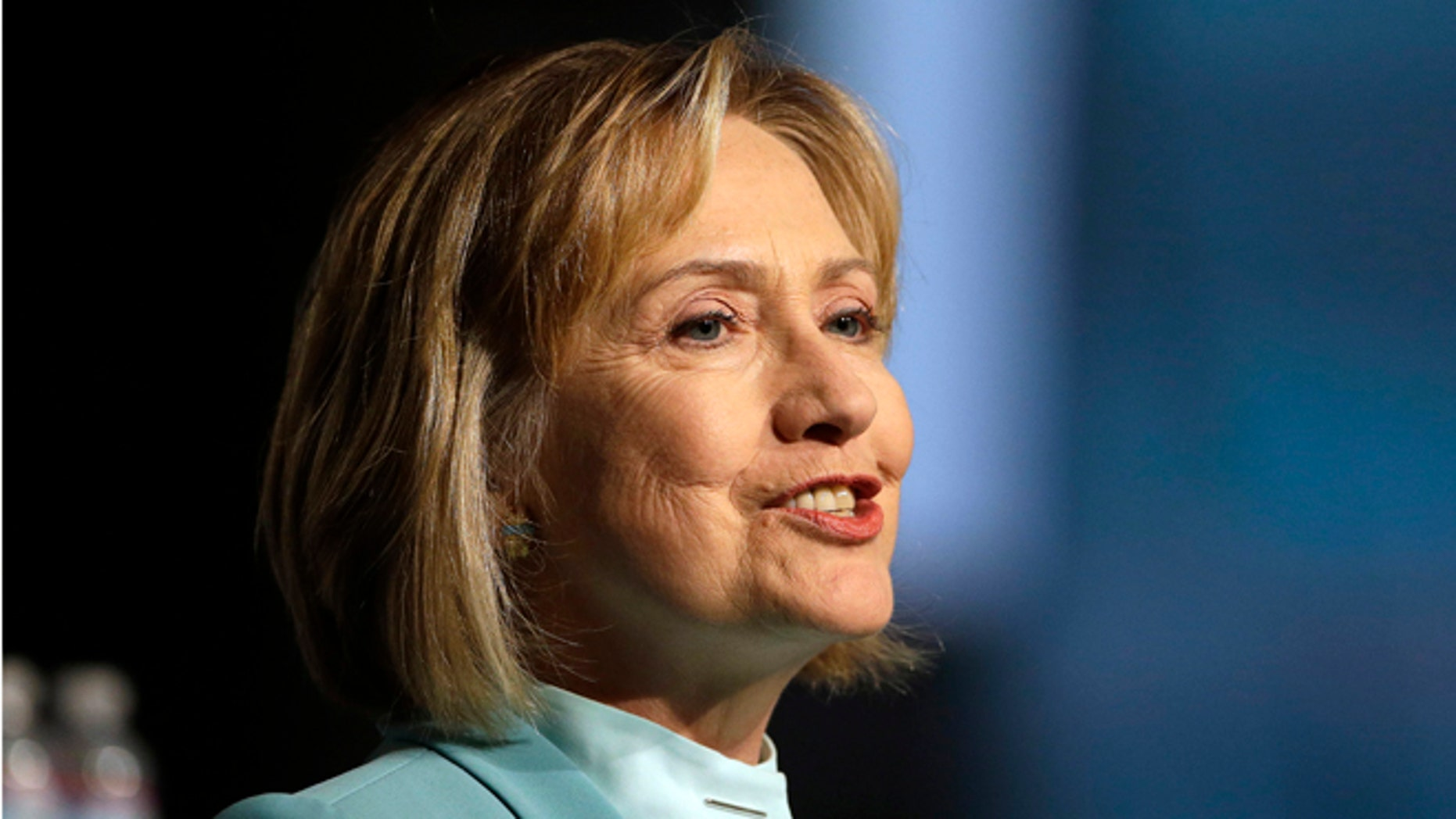 FILE: Aug. 12, 2013: Former Secretary of State Hillary Clinton speaks at the American Bar Association's annual meeting, in San Francisco, Calif.