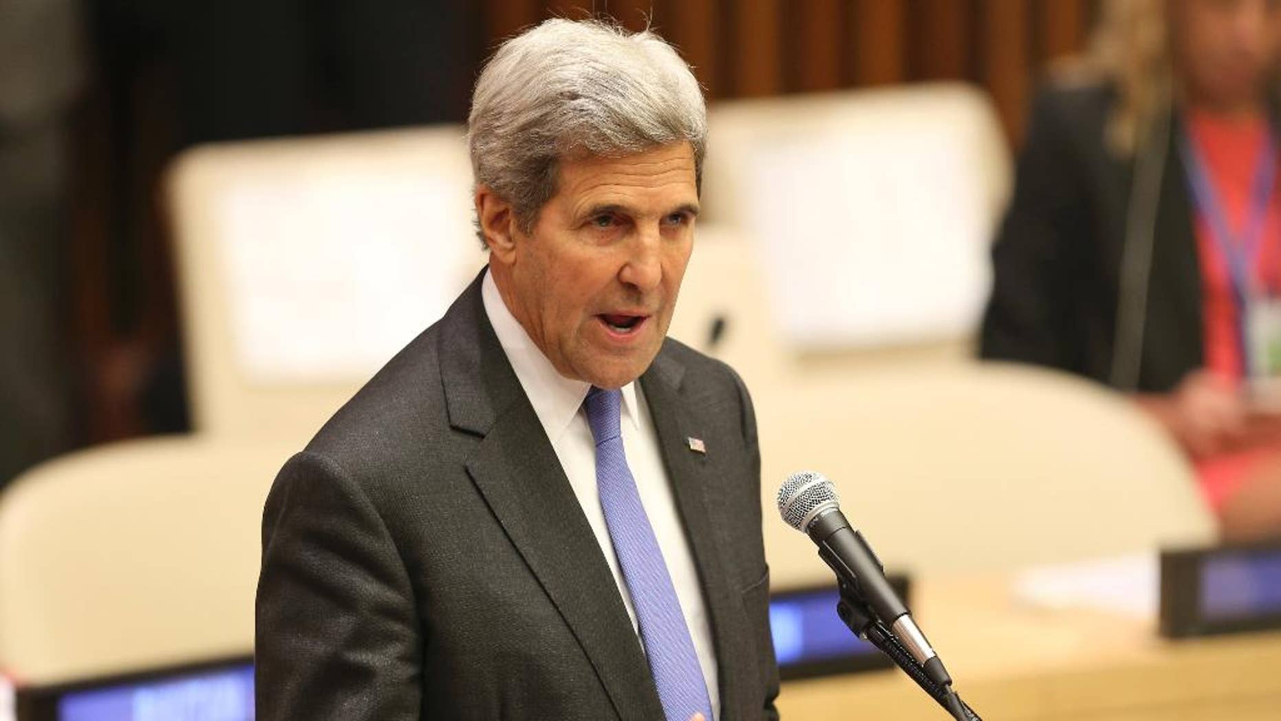 United States Secretary of State John Kerry speaks during the Summit for Refugees and Migrants at U.N. headquarters, Monday, Sept. 19, 2016. (AP Photo/Seth Wenig)
