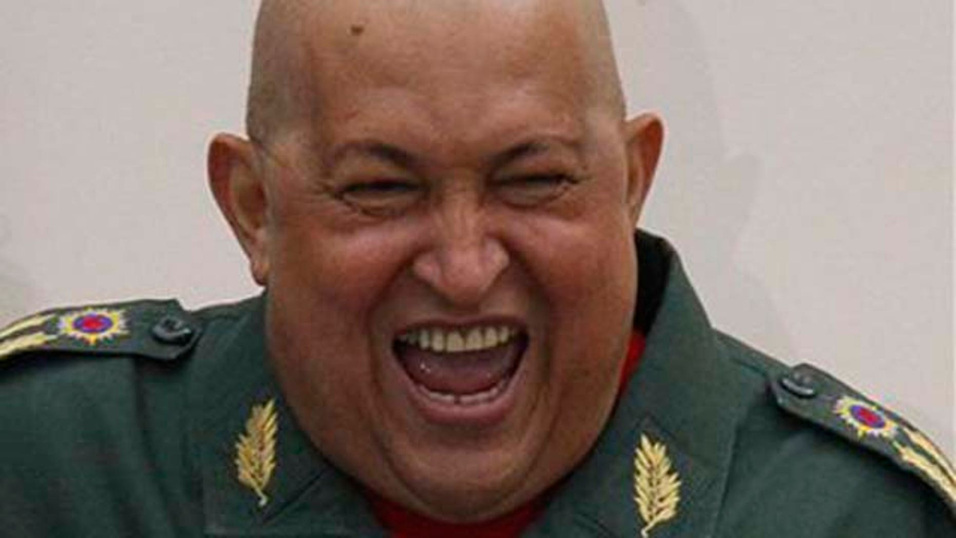 Aug. 27, 2011: Venezuela's President Hugo Chávez reacts in front of supporters on the balcony of the Miraflores presidential palace in Caracas, Venezuela.