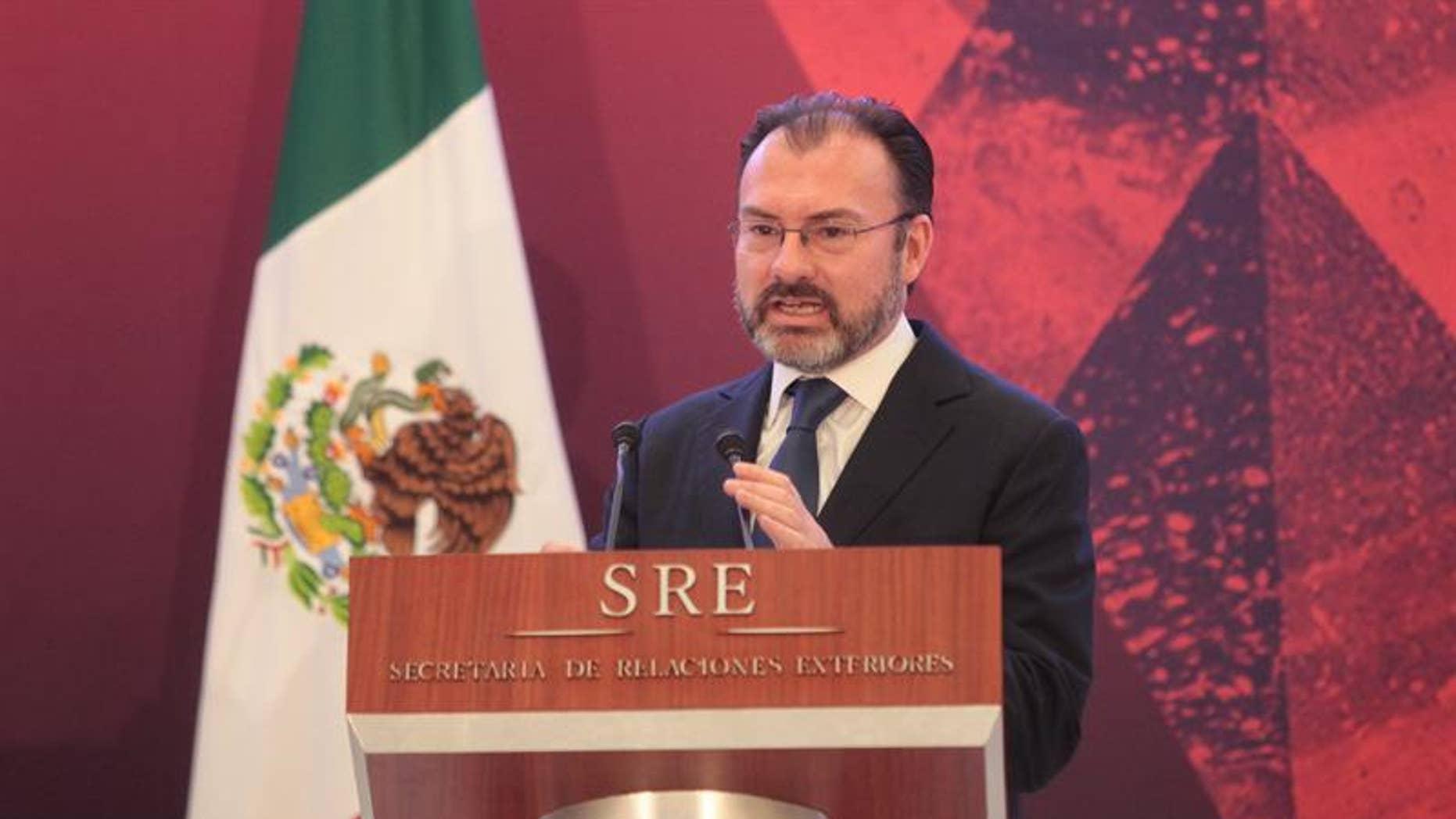 Mexican Foreign Relations Secretary Luis Videgaray in Mexico City, Mexico, Jan. 9, 2017.