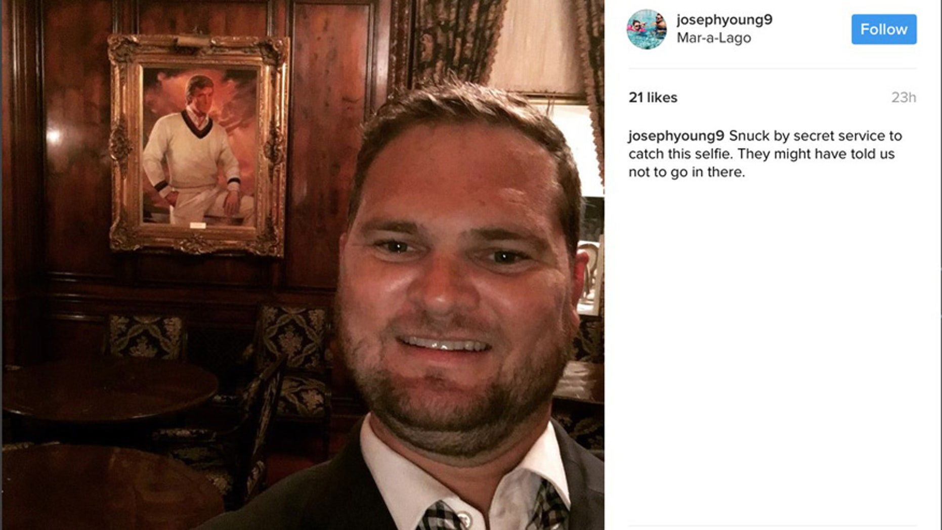 Joseph Young posted this selfie from inside Trump's Mar-a-Lago private study.