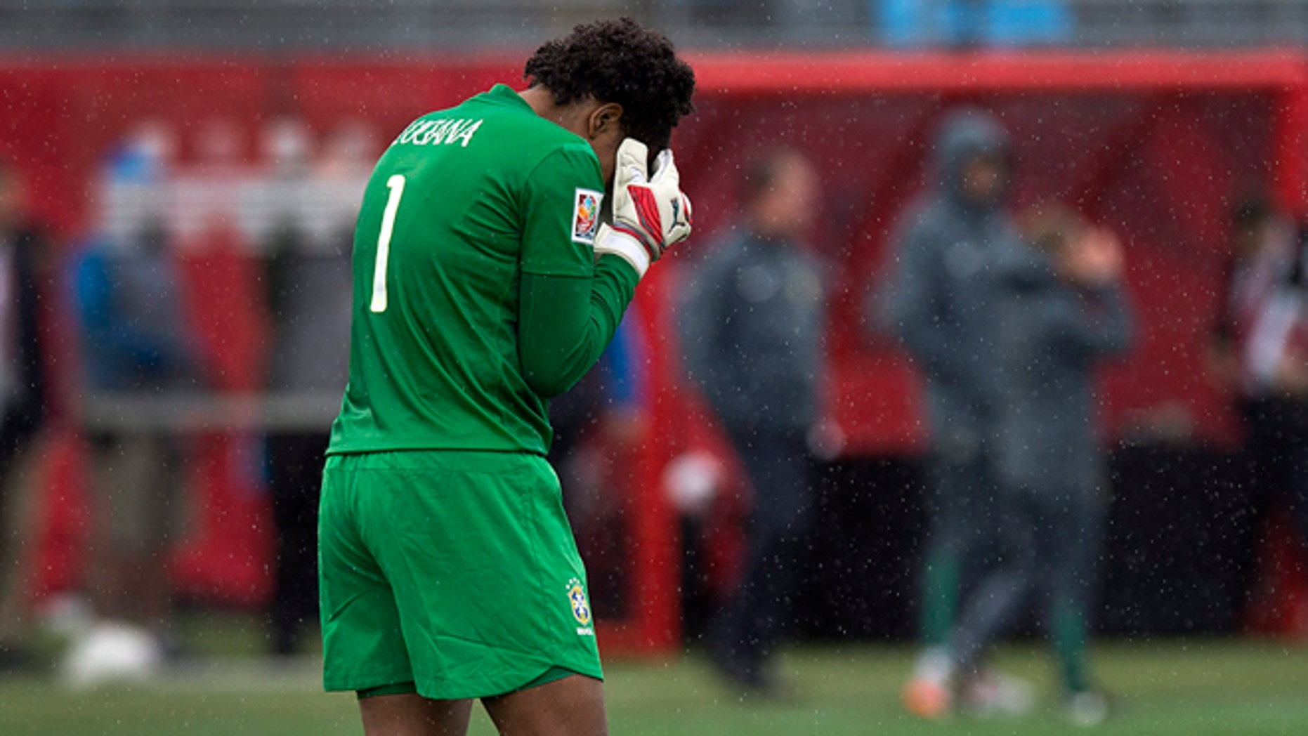 Brazilian goalkeeper Luciana reacts after losing 1-0 to Australia in FIFA Women's World Cup soccer in Moncton, New Brunswick, Canada, Sunday, June 21, 2015. Australia advances to the quarter-finals. (Andrew Vaughan/The Canadian Press via AP) MANDATORY CREDIT