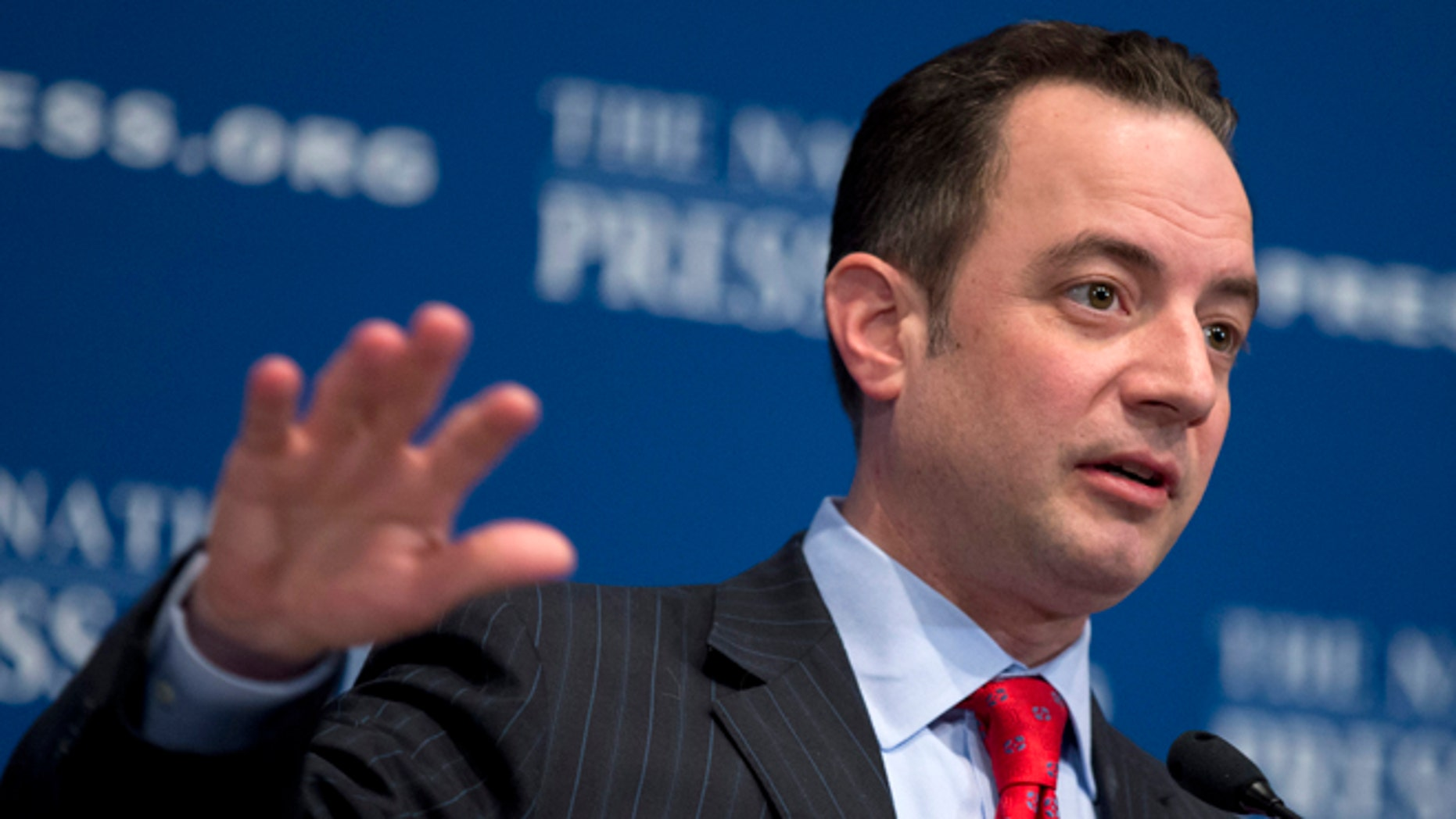 "Republican National Committee (RNC) Chairman Reince Priebus gestures while speaking at the National Press Club in Washington, Monday, March 18, 2013. The RNC formally endorsed immigration reform on Monday and outlined plans for a $10 million outreach to minority groups _ gay voters among them _ as part of a strategy to make the GOP more ""welcoming and inclusive"" for voters who overwhelmingly supported Democrats in 2012.   (AP Photo/Manuel Balce Ceneta)"