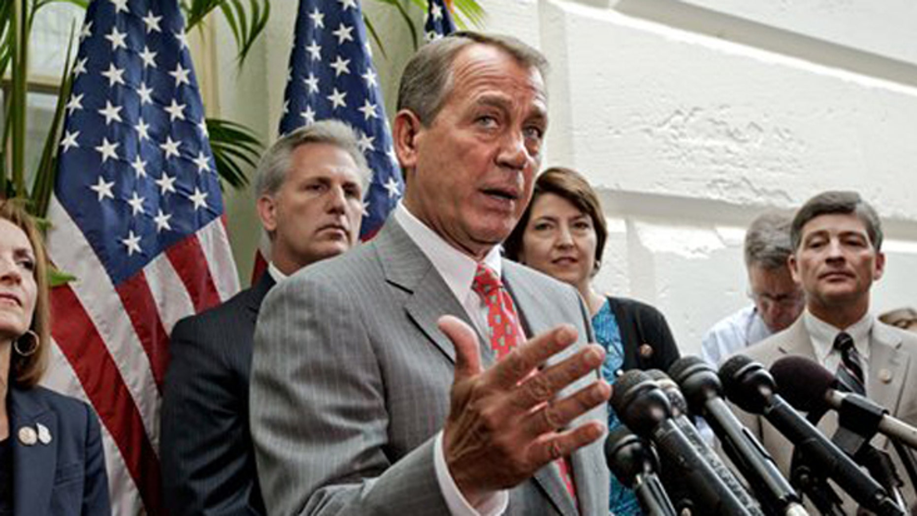 FILE - In this July 10, 2012, file photo, House Speaker John Boehner, R-Ohio, speak to the media at the Capitol in Washington, as Rep. Nan Hayworth, R-NY., House Majority Whip Kevin McCarthy, R-Calif., House Speaker John Boehner, Rep. Cathy McMorris Rodgers, R-Wash., and Rep. Jeb Hensarling, R-Texas, listen. Senate-passed bills to cut farm subsidies and food stamps and overhaul the financially distraught Postal Service have been put on hold by House Republican leaders wary of igniting internal party fights or risking voters' ire three months before the election. (AP Photo/J. Scott Applewhite)