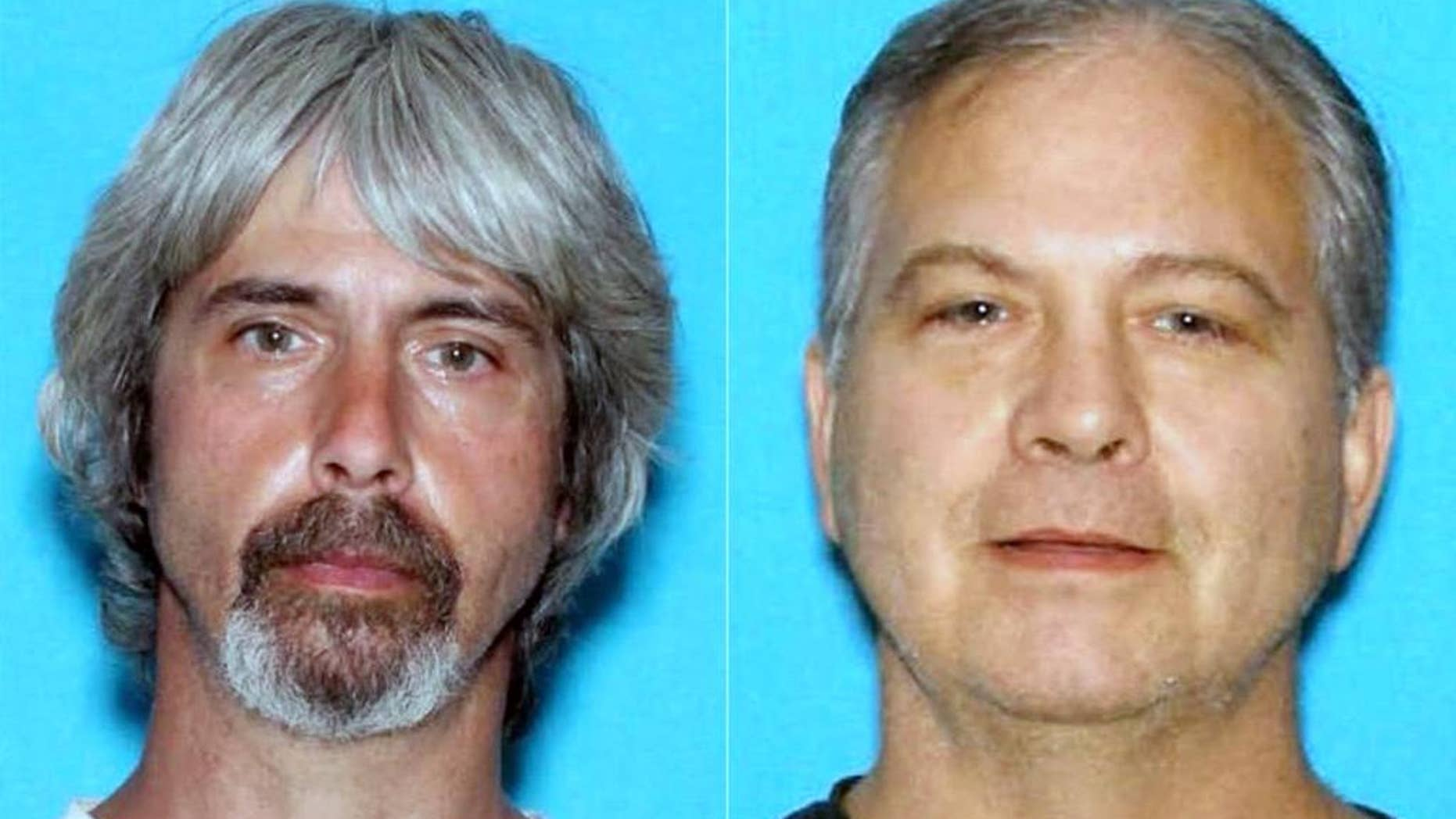 These undated booking photos provided by the Snohomish County Sheriff Office shows Tony Reed, left and John Reed. Authorities are searching for the two brothers who were involved in a property dispute with a missing Washington state couple. Neighbors reported Patrick Shunn and his wife, Monique Patenaude, of Arlington missing on Tuesday when their livestock was left unattended, and detectives in Snohomish County now believe they were killed. (Snohomish County Sheriff Office via AP )