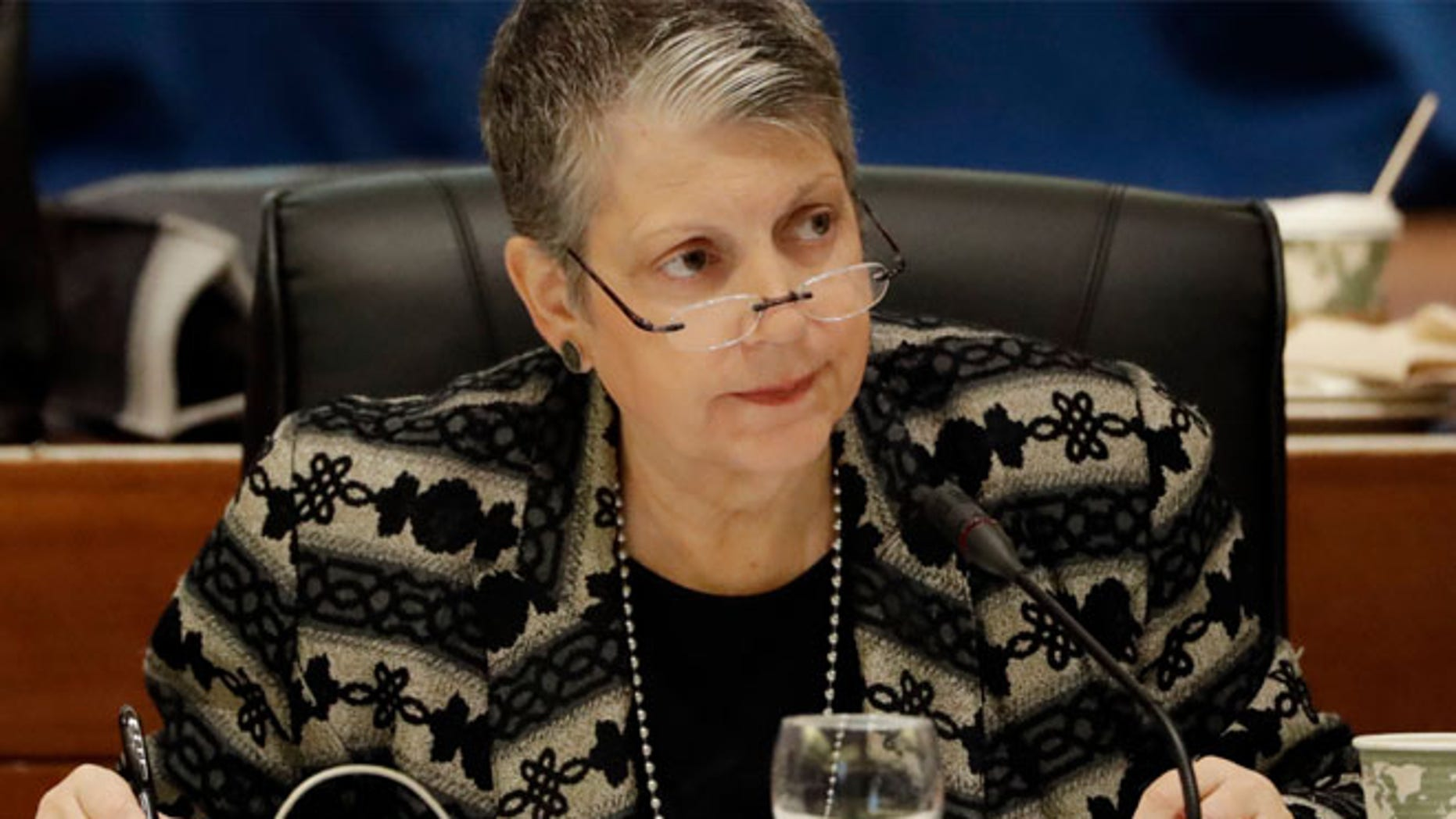 FILE 2017: University of California President Janet Napolitano attends a UC Board of Regents meeting, in San Francisco.