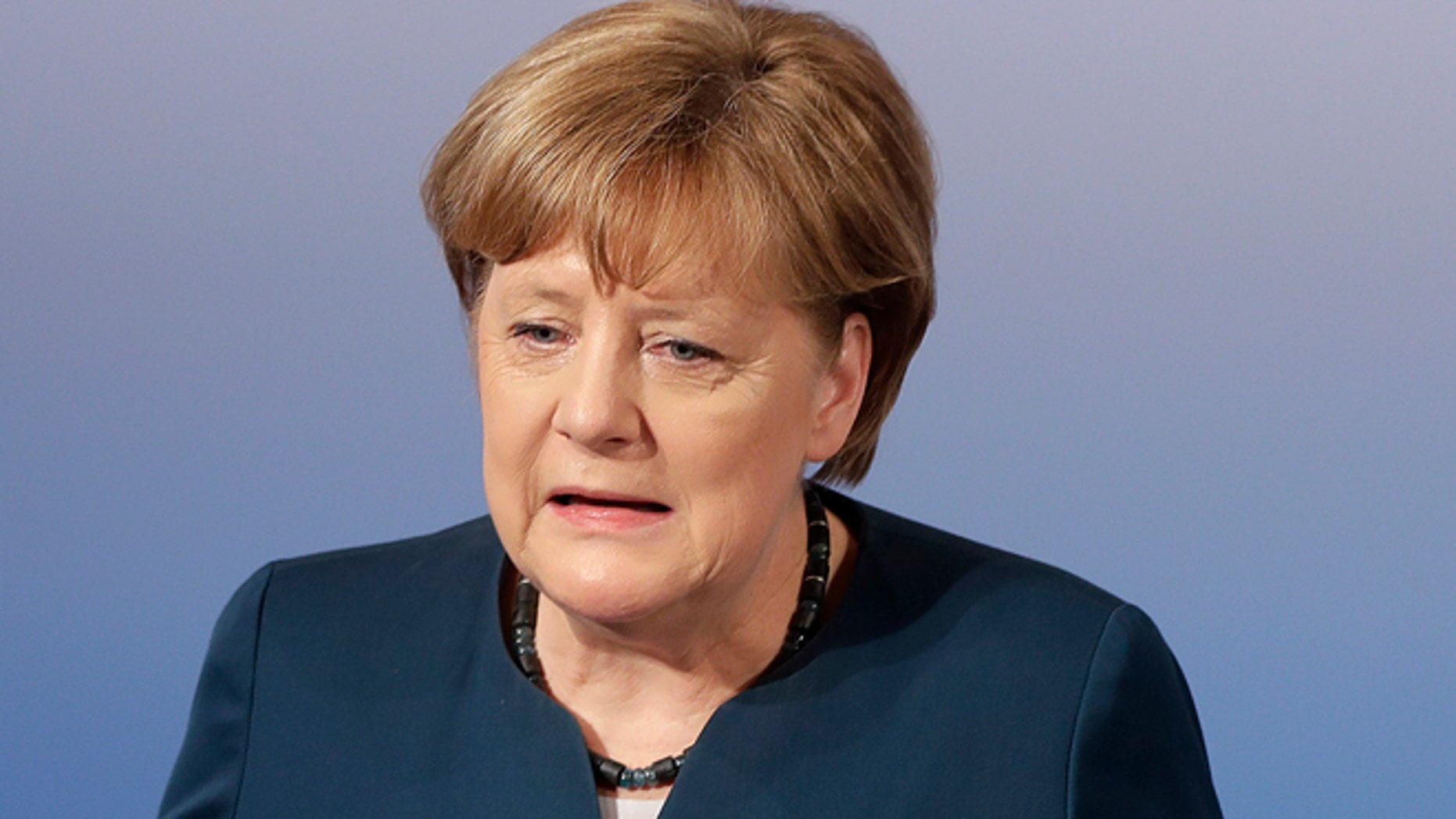 Feb. 18, 2017: German Chancellor Angela Merkel speaks in Munich, Germany.