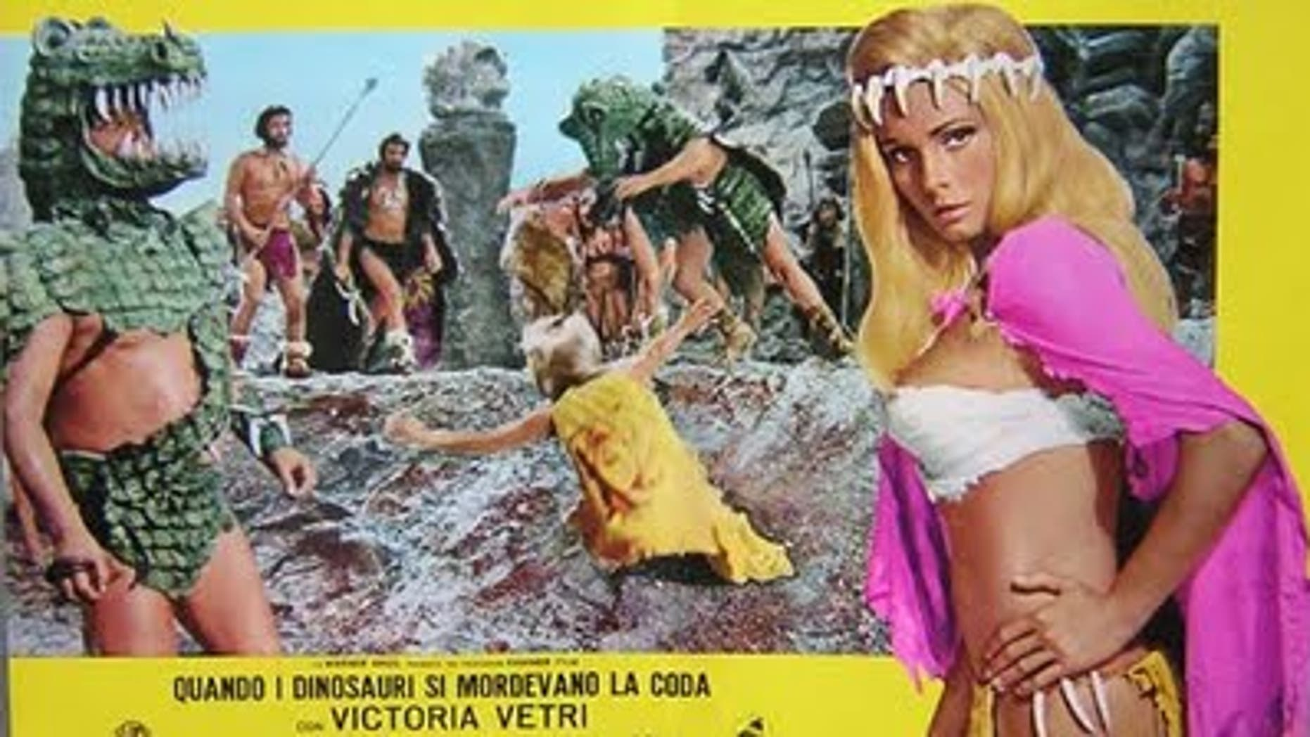 "Victoria Vetri (aka Angela Dorian) in 1970's ""When Dinosaurs Ruled the Earth."""