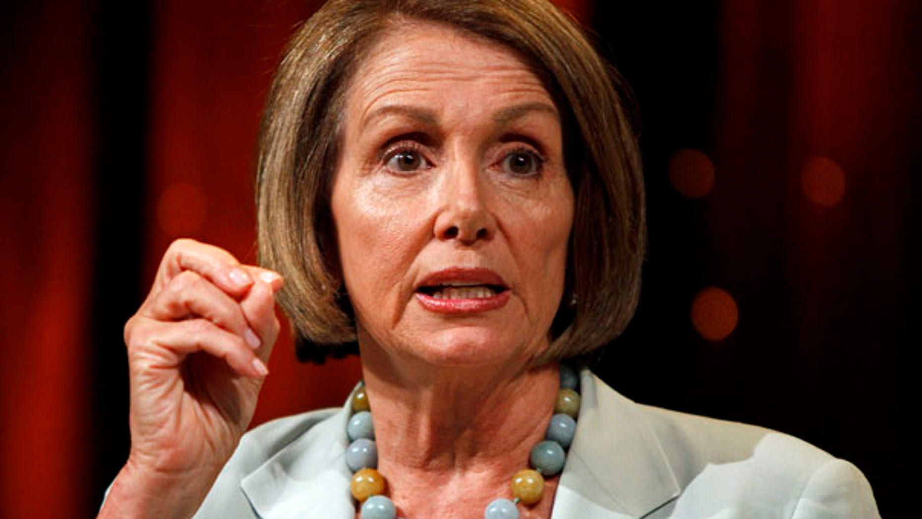 File photo - House Speaker Nancy Pelosi, D-Calif., answers questions during a Netroots Nation convention in Las Vegas on Saturday, July 24, 2010. (AP Photo/Louie Traub)