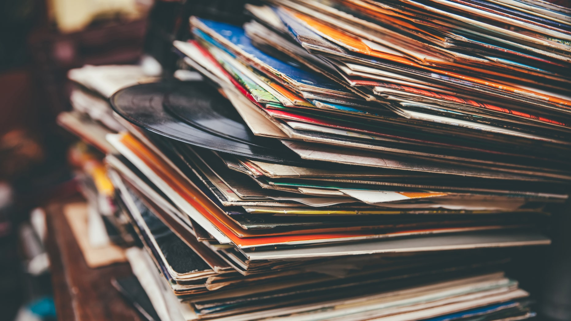 Retro styled lp records on a flea market. (Credit: iStock)
