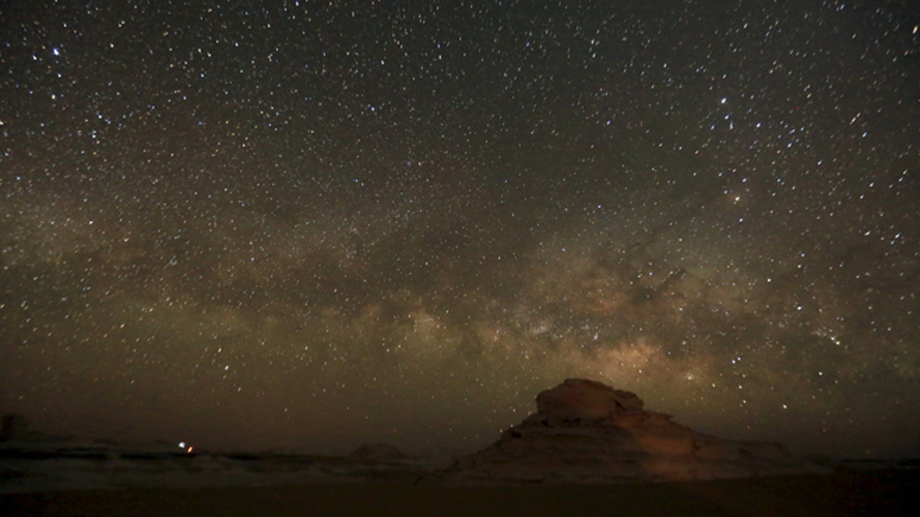 The Milky Way is seen in the night sky in the White Desert north of the Farafra Oasis near Cairo, Egypt. (Reuters)
