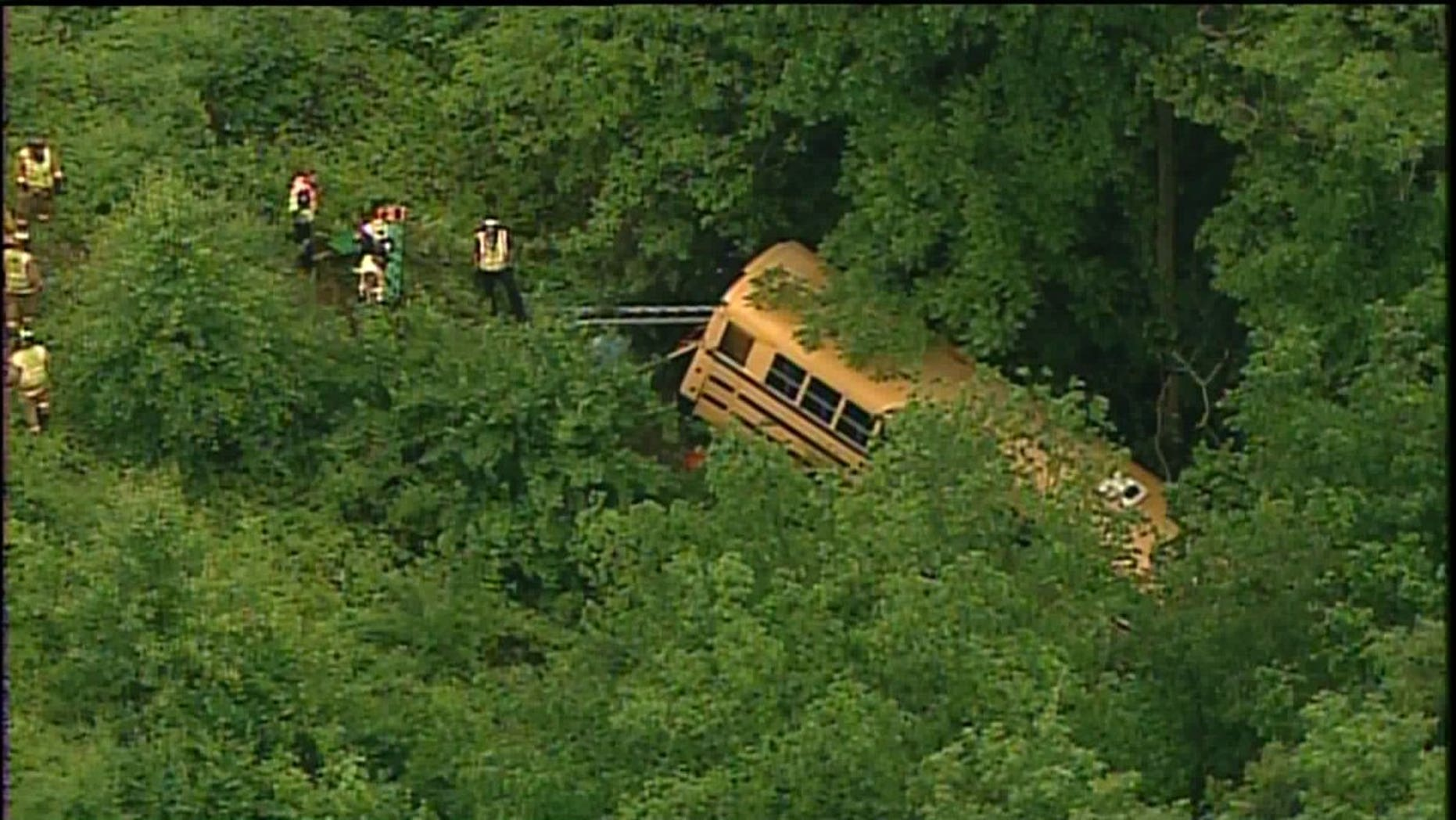 The bus plunged into a ravine in St. Louis County.