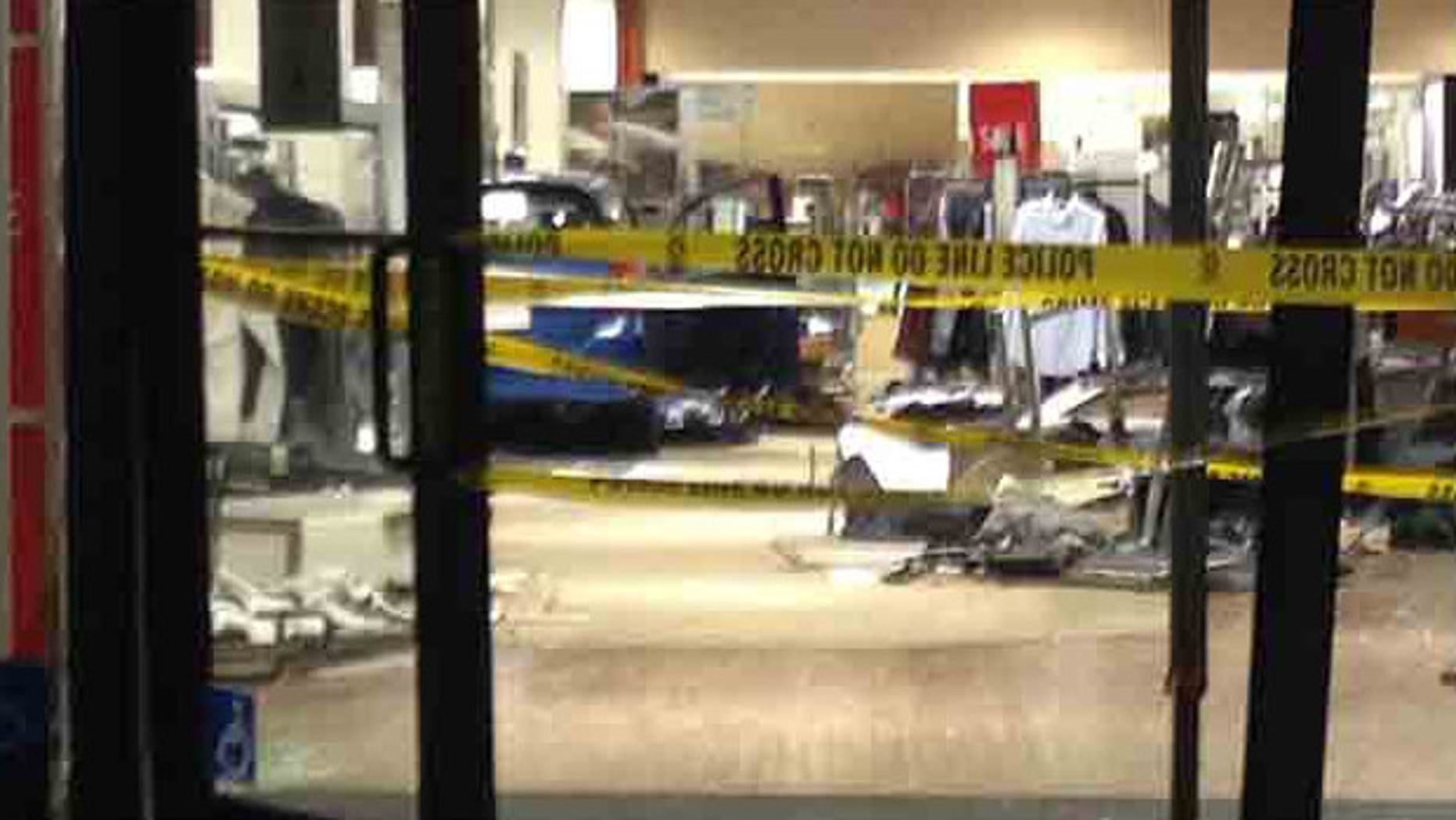 Jan. 14, 2015: Scene at NewPark Mall where a driver plowed through a Macy's store.