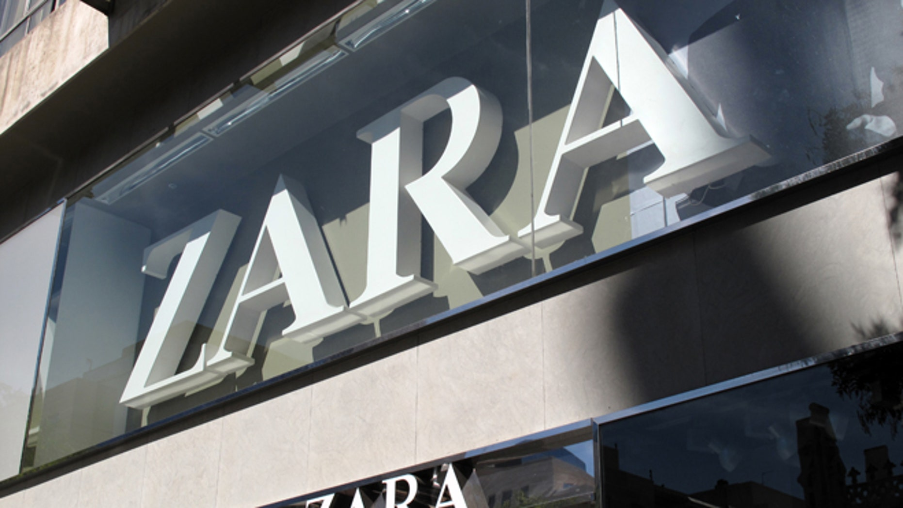 Logotype of Zara at the entrance of a fashion shop's in Madrid, october 2010. (Photo by Cristina Arias/Cover/Getty Images)