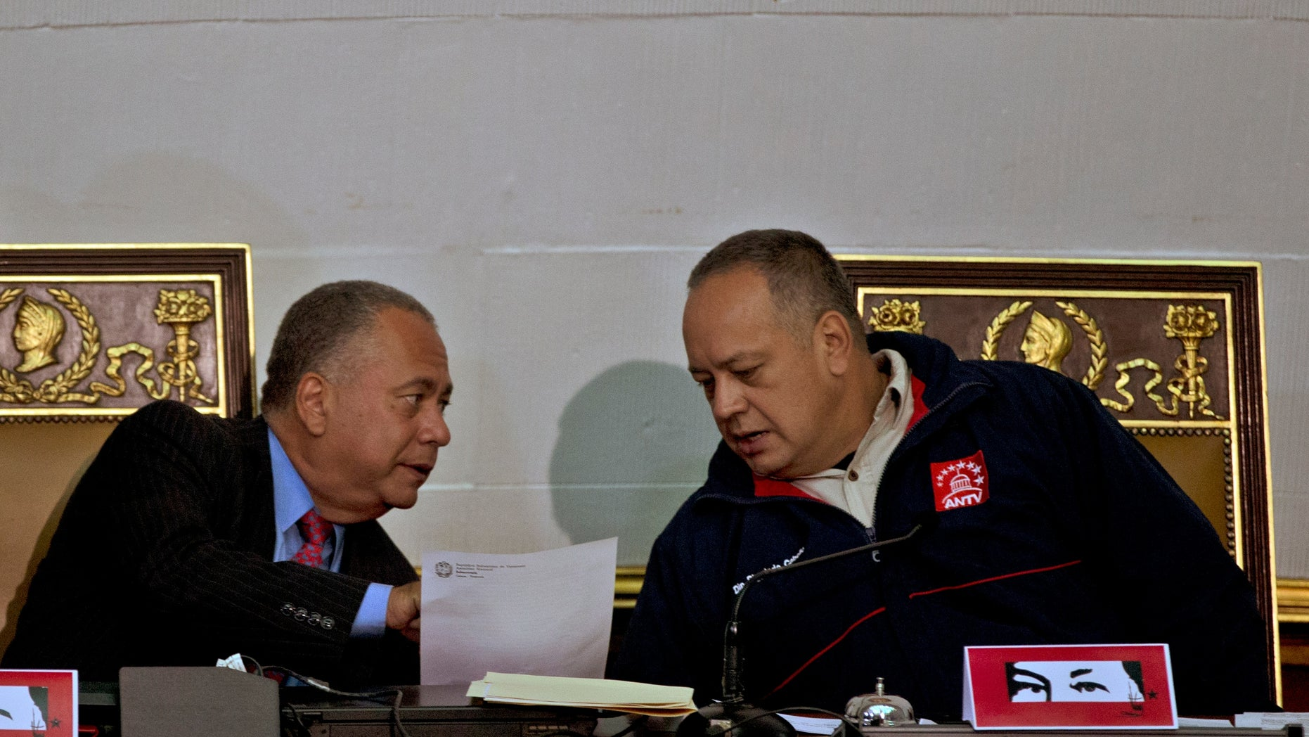 National Assembly's President Diosdado Cabello and first Vice President Elvis Amoroso.