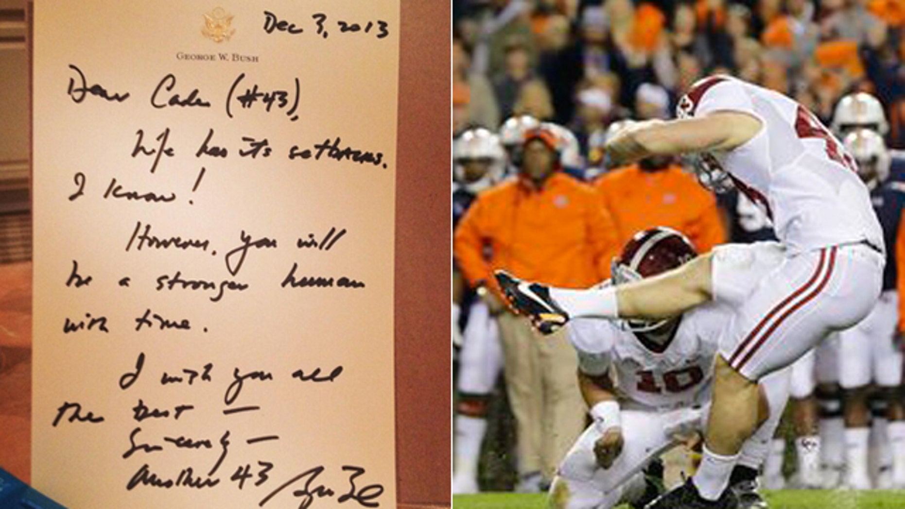 Cade Foster, left, posted this photo to his Twitter account of a letter apparently set to him from George W. Bush.