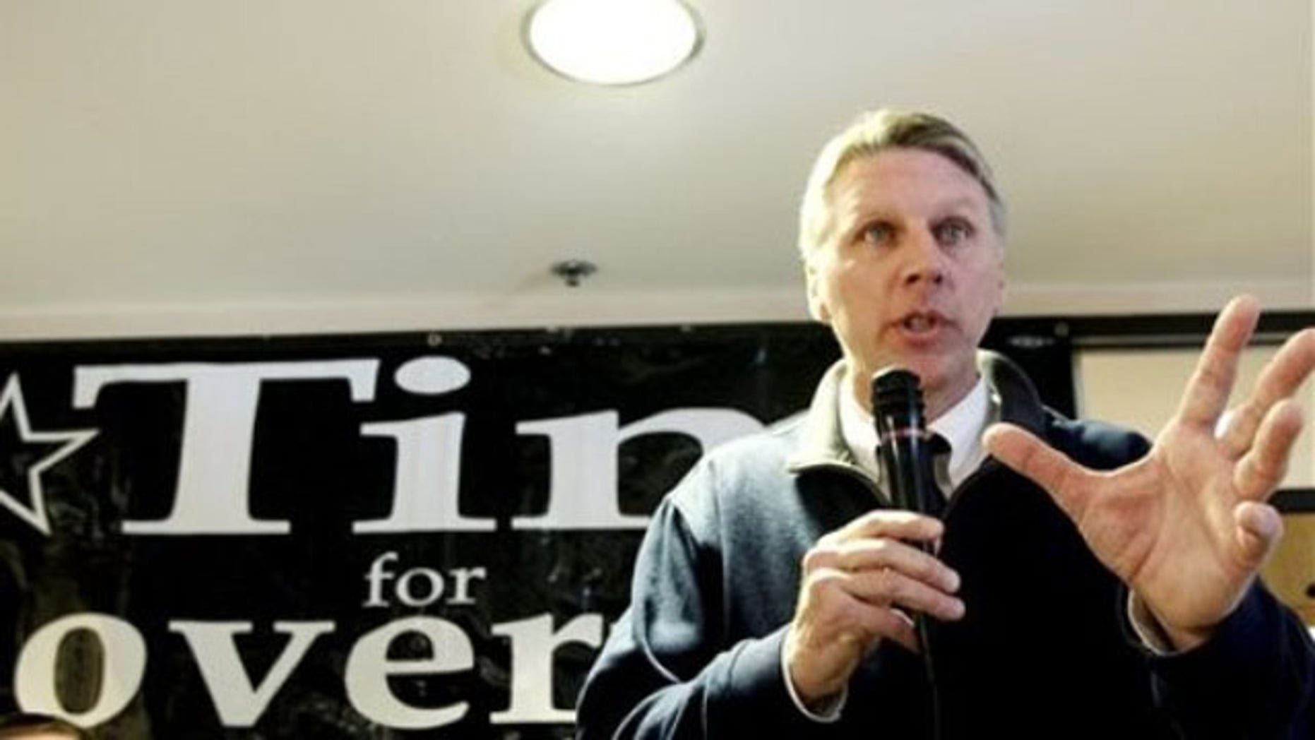 In this Feb. 13 file photo, Massachusetts Treasurer Tim Cahill speaks at his campaign headquarters in Quincy, Mass. (AP Photo)