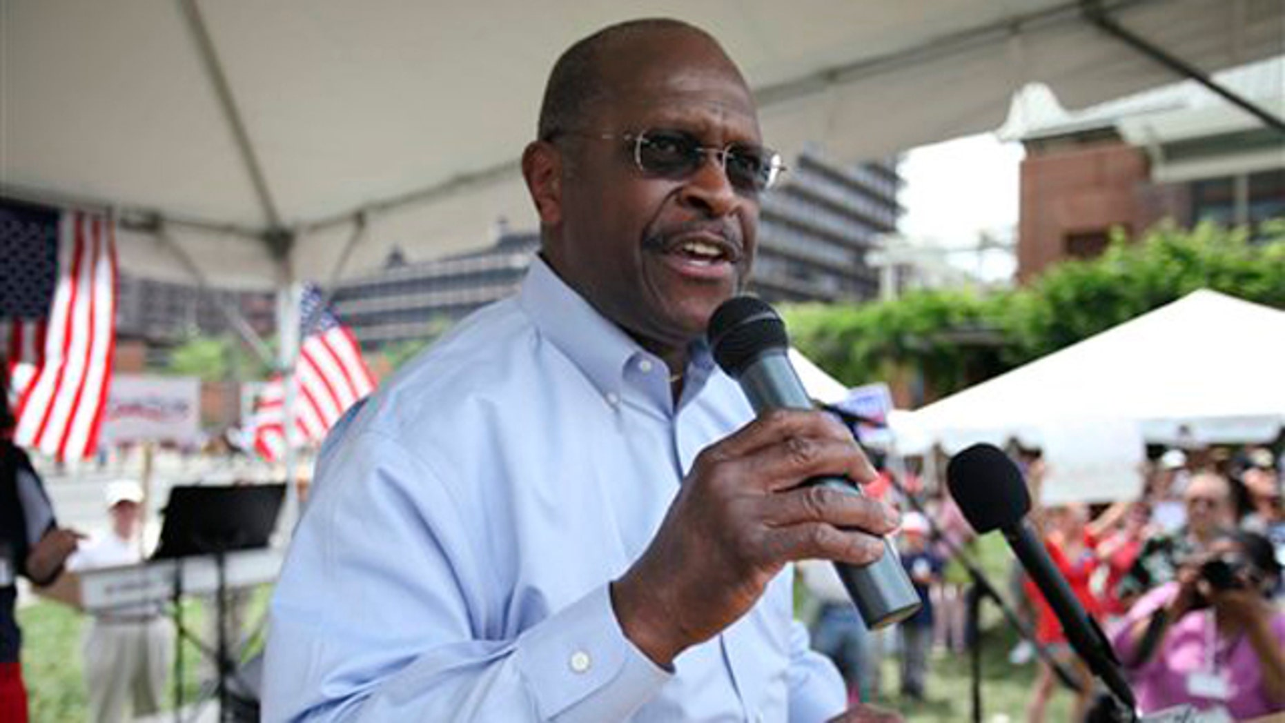 FILE: Republican presidential candidate Herman Cain speaks during a Tea Party rally in Philadelphia.