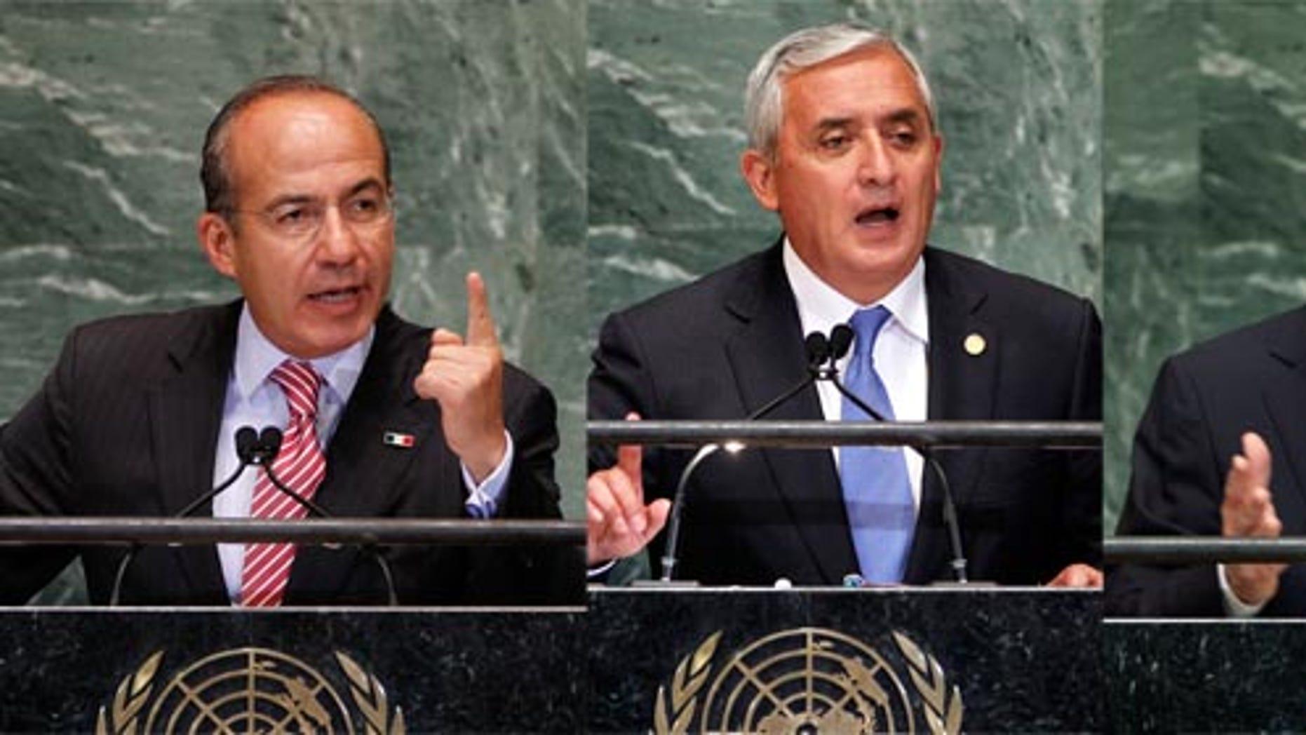 President Felipe Calderon of Mexico, President of Guatemala Otto Perez Molina, and the President of Colombia Juan Manuel Santos.