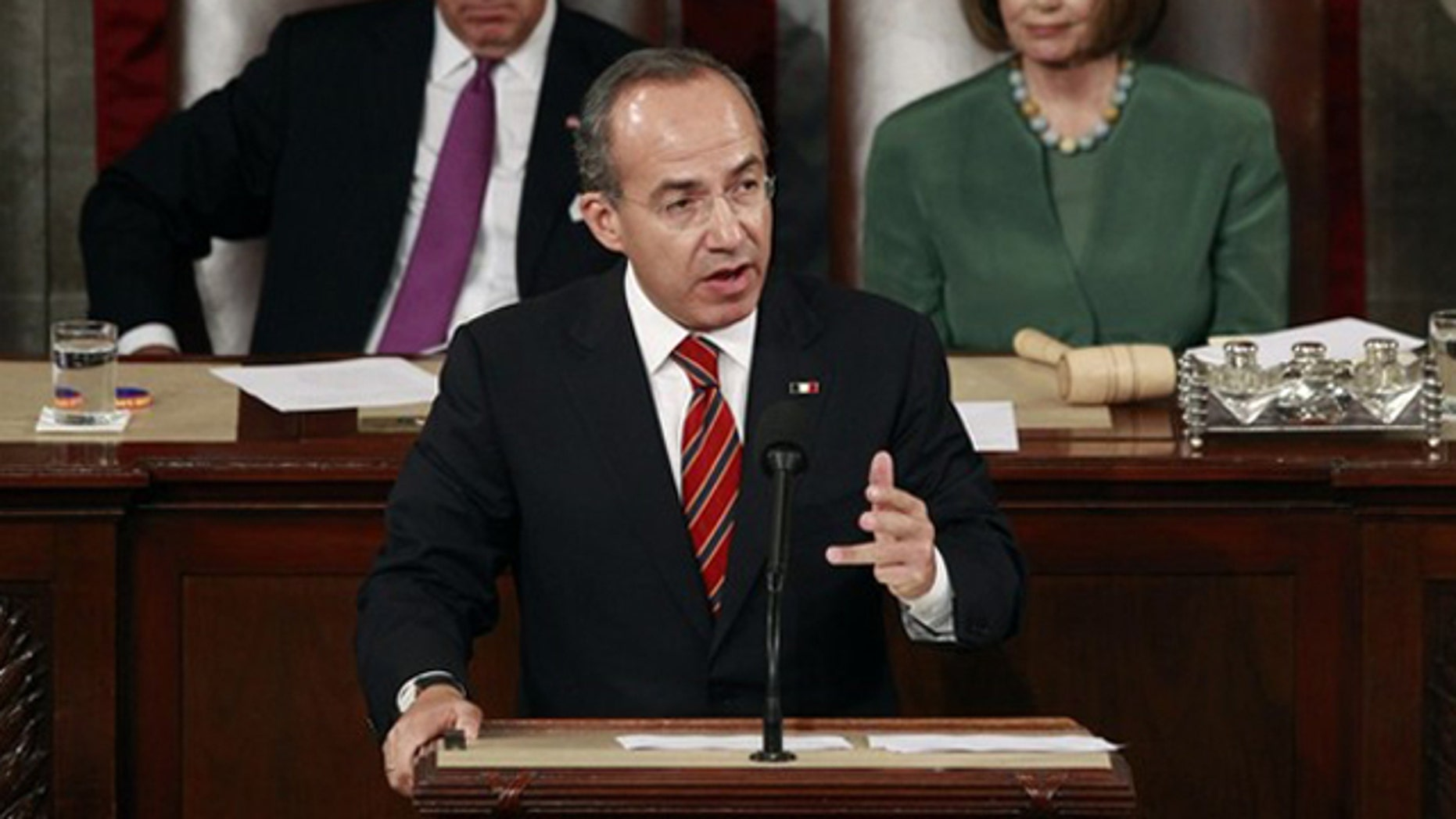 Mexican President Felipe Calderon addresses a joint meeting of Congress on Capitol Hill May 20. (Reuters Photo)