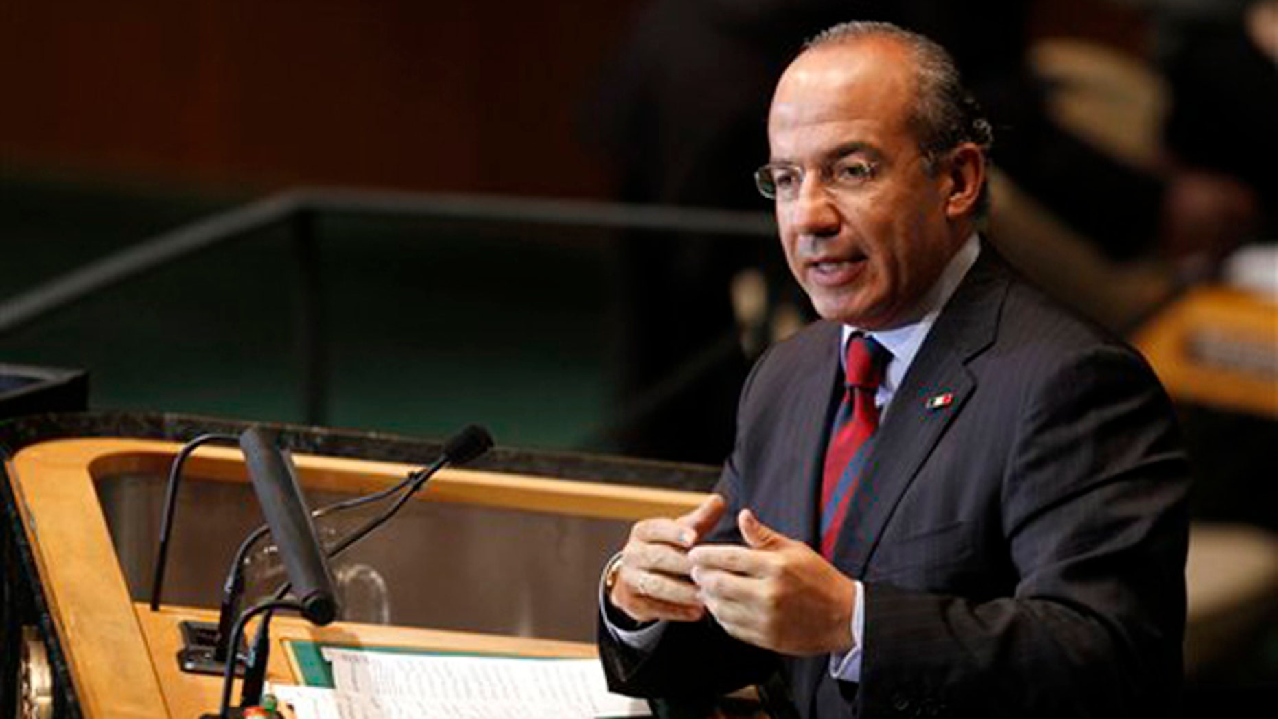 Mexican President Felipe Calderon addresses the 66th session of the United Nations General Assembly at U.N. headquarters Sept. 21.