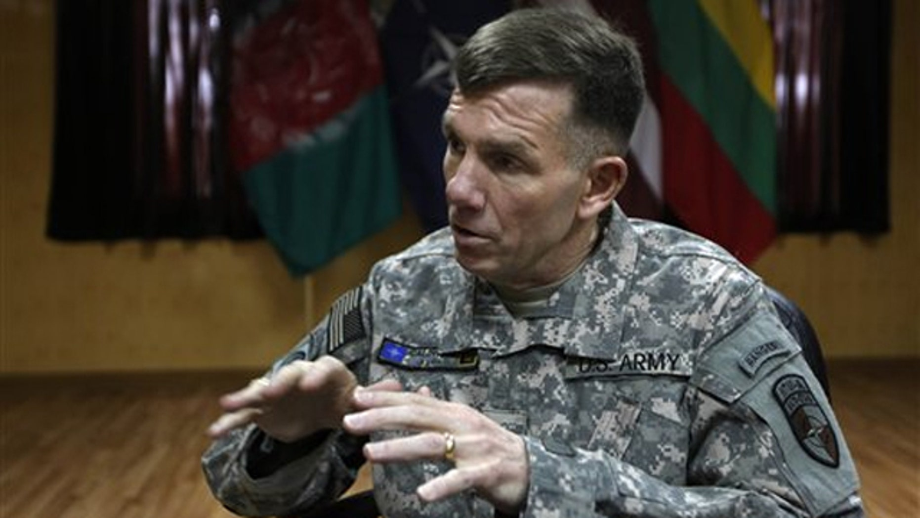 Lt. Gen. William Caldwell, the commander of NATO's mission to train Afghan policemen and soldiers, speaks during an interview with The Associated Press in Kabul, Afghanistan Feb. 12.